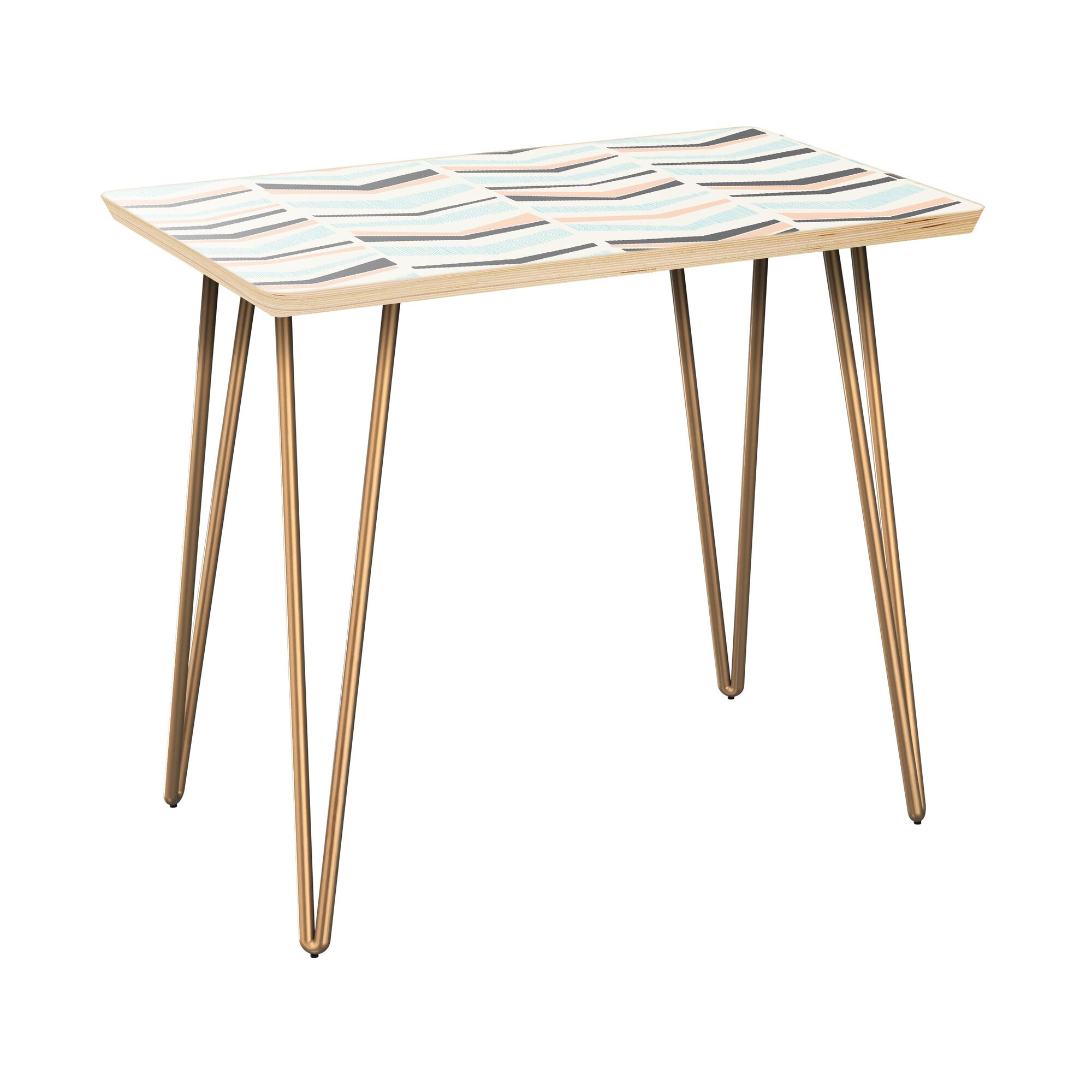 Everhart End Table Table Base Color: Brass, Table Top Color: Natural