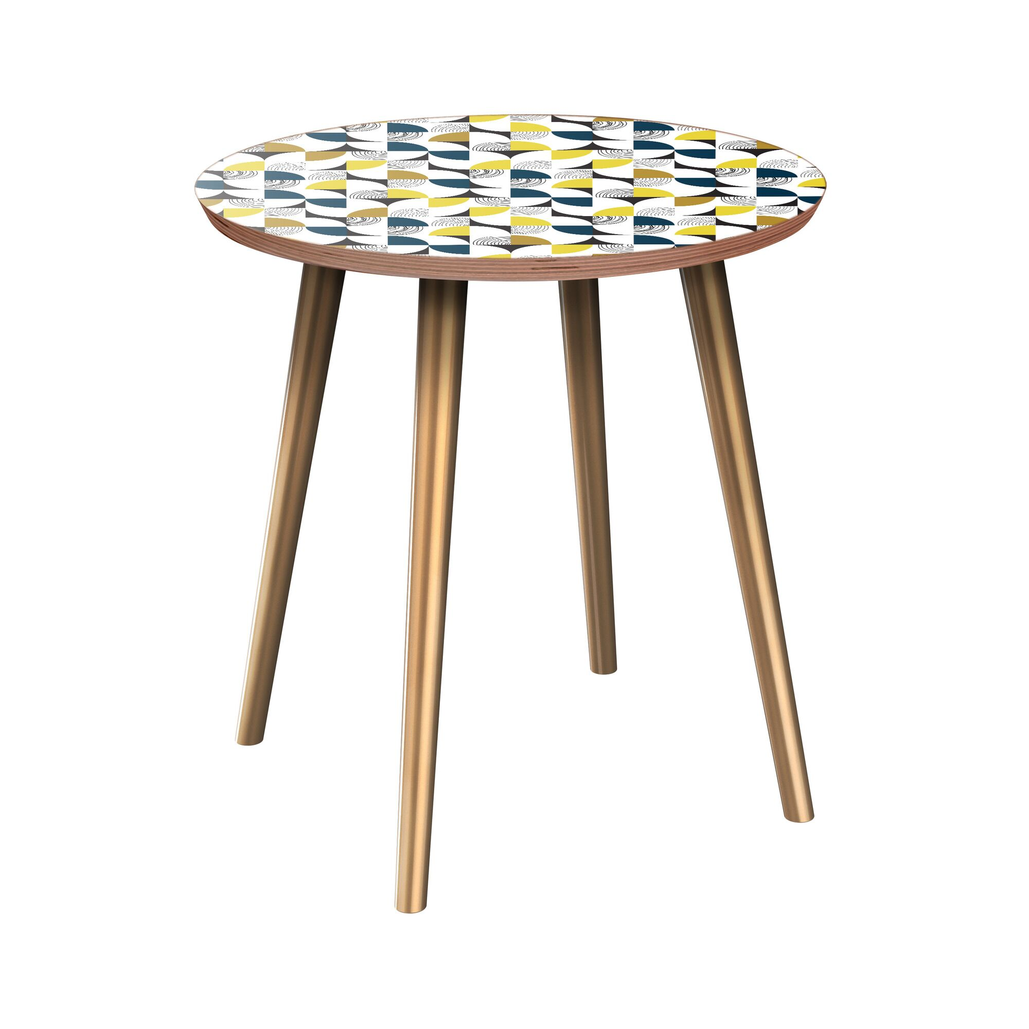 Juba End Table Table Base Color: Brass, Table Top Color: Walnut