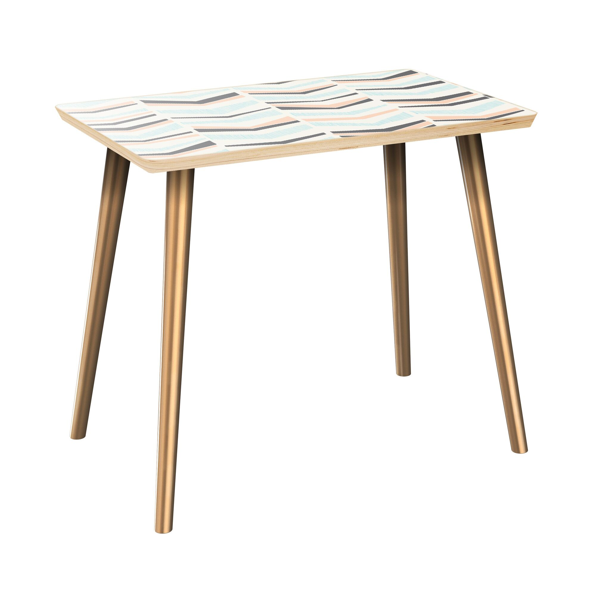 Everitt End Table Table Top Color: Natural, Table Base Color: Brass