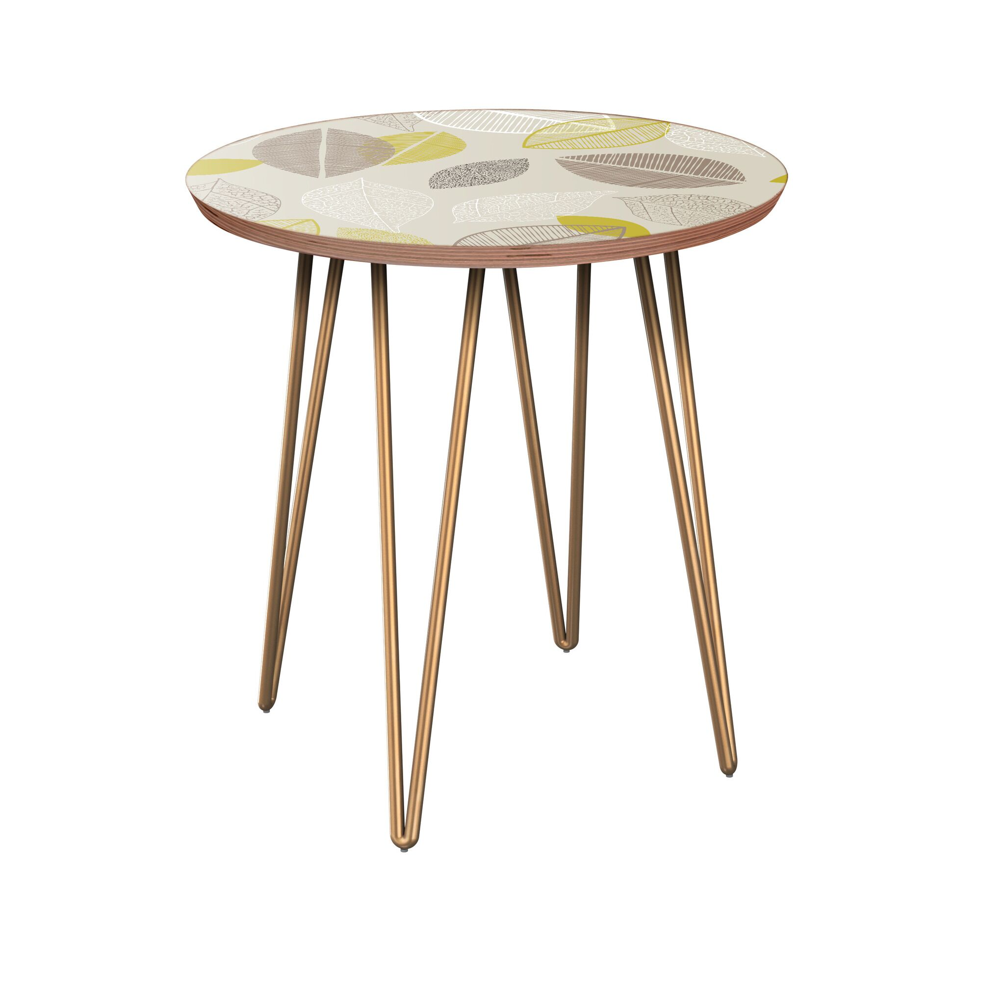 Julianna End Table Table Base Color: Brass, Table Top Boarder Color: Walnut, Table Top Color: Blue