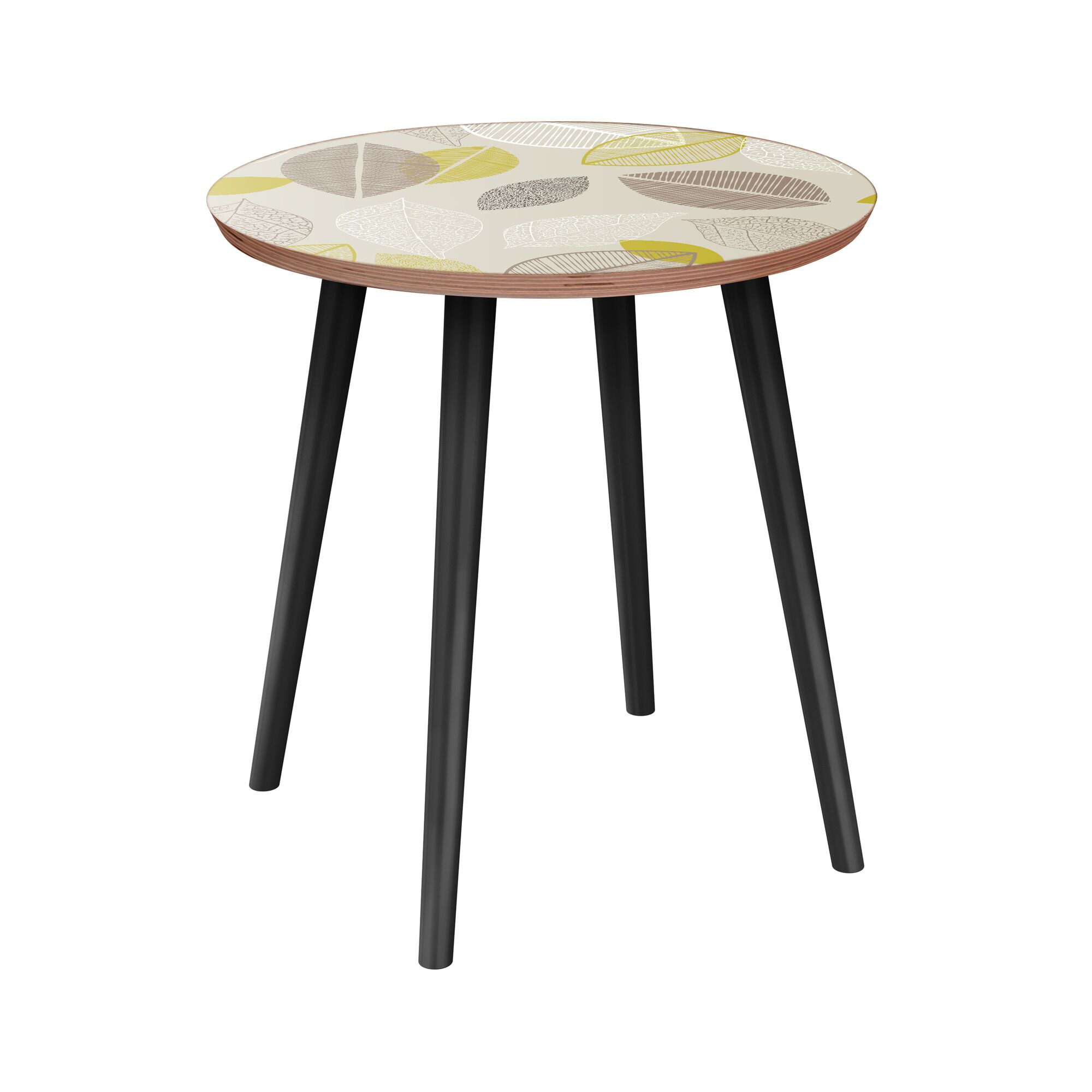 June End Table Table Base Color: Black, Table Top Boarder Color: Walnut, Table Top Color: Blue