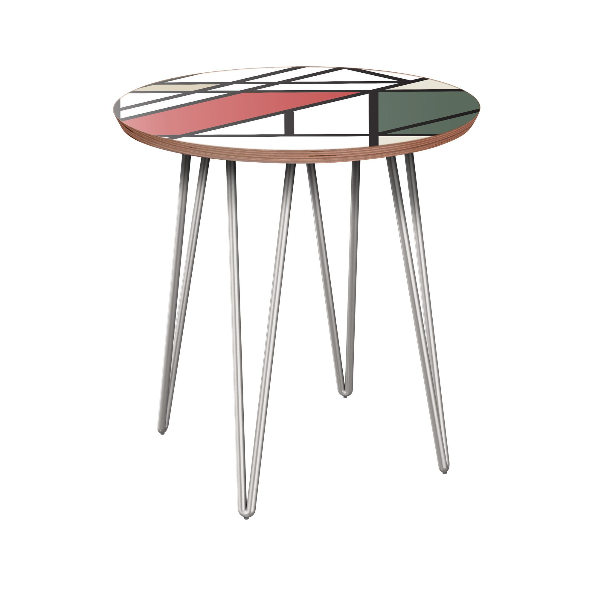 Karin End Table Table Base Color: Chrome, Table Top Color: Walnut