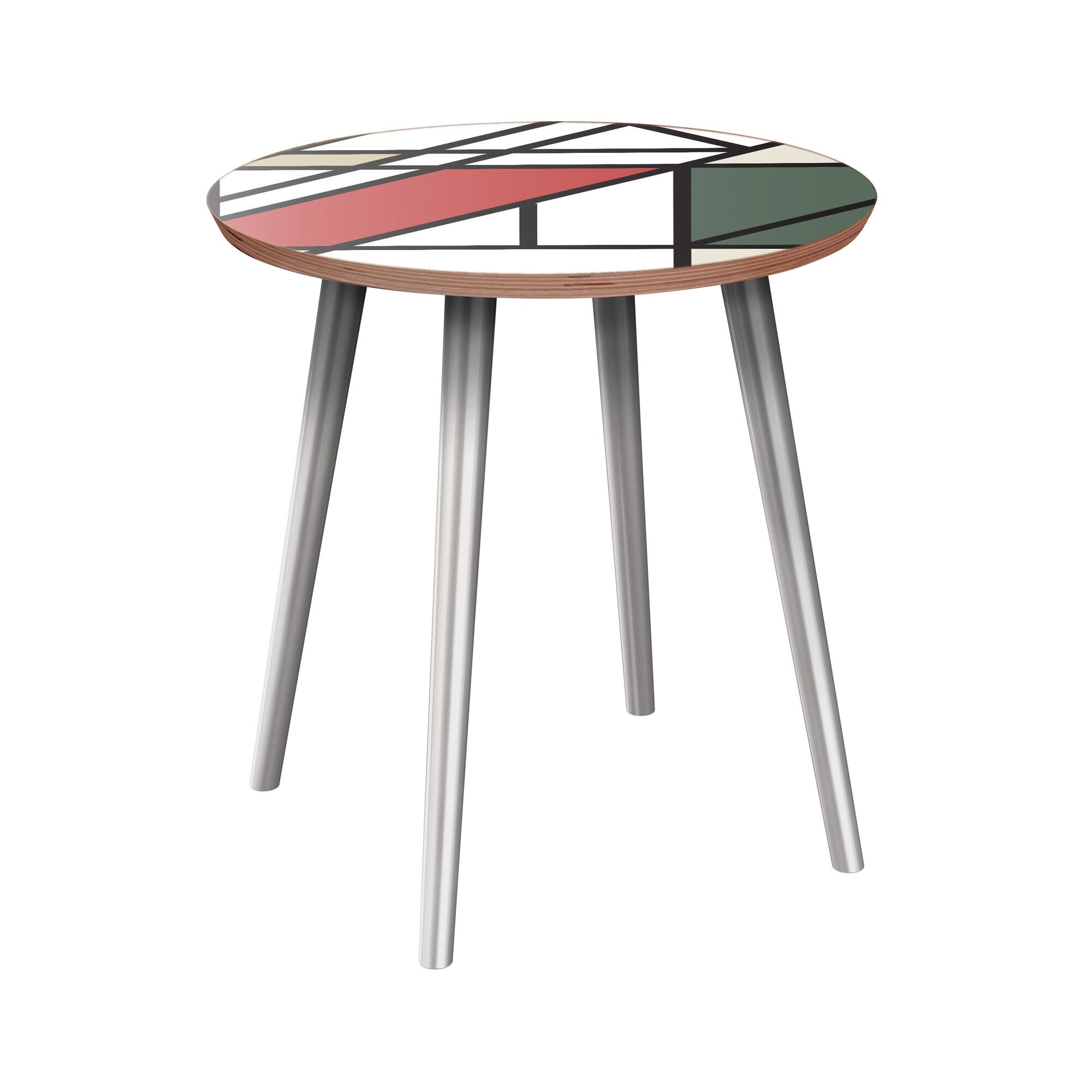 Kassidi End Table Table Base Color: Chrome, Table Top Color: Walnut