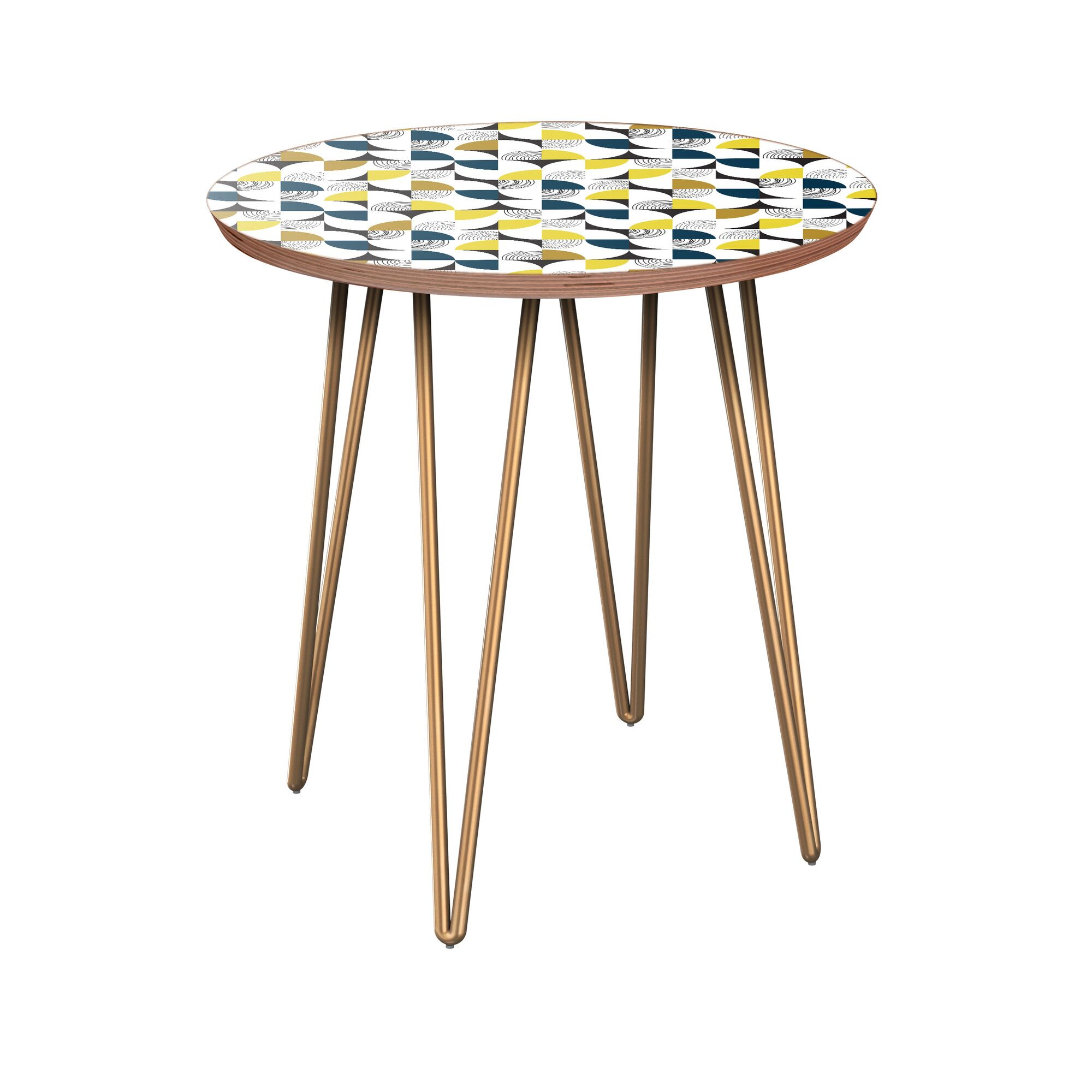 Juanita End Table Table Top Color: Walnut, Table Base Color: Brass
