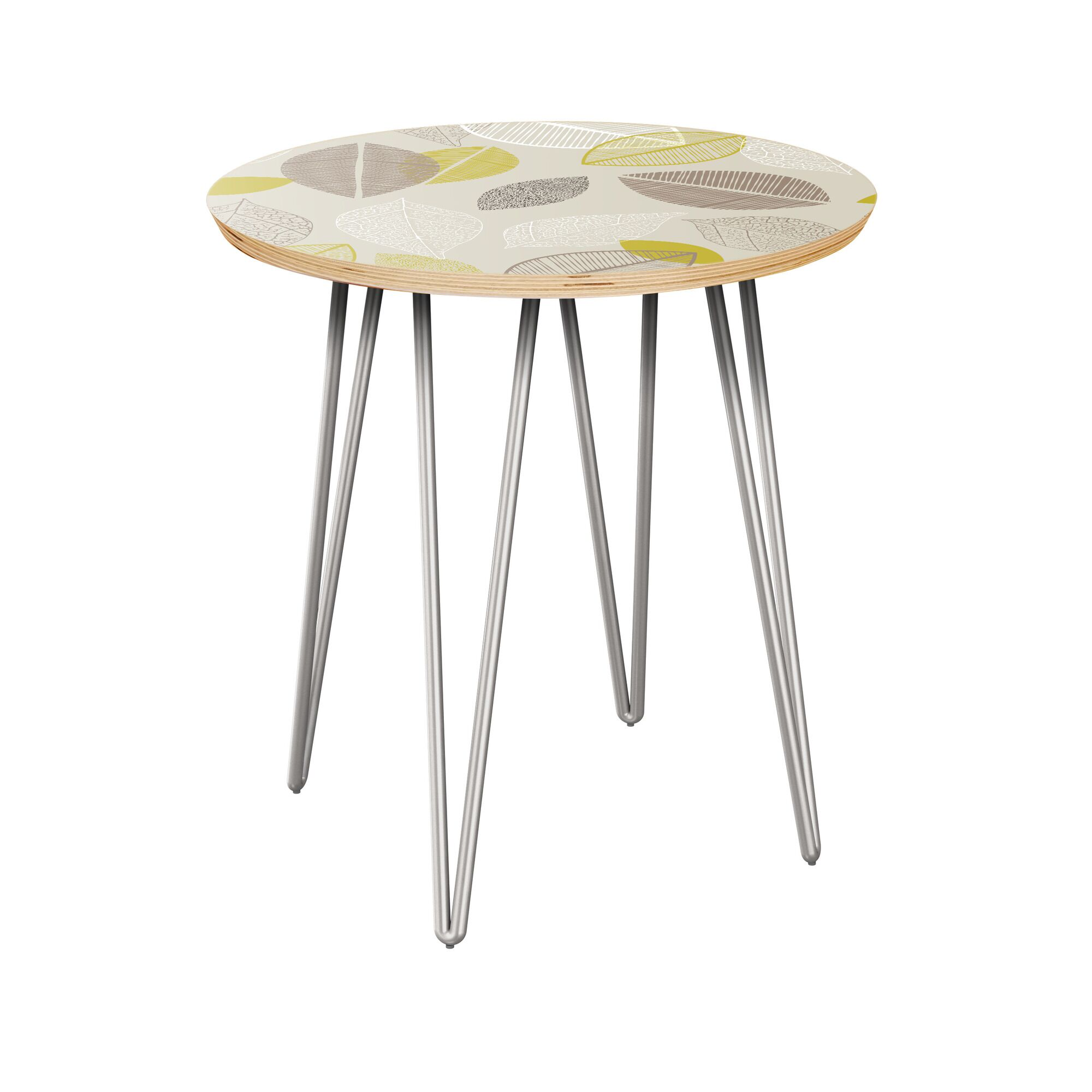 Julianna End Table Table Top Boarder Color: Natural, Table Base Color: Chrome, Table Top Color: Blue