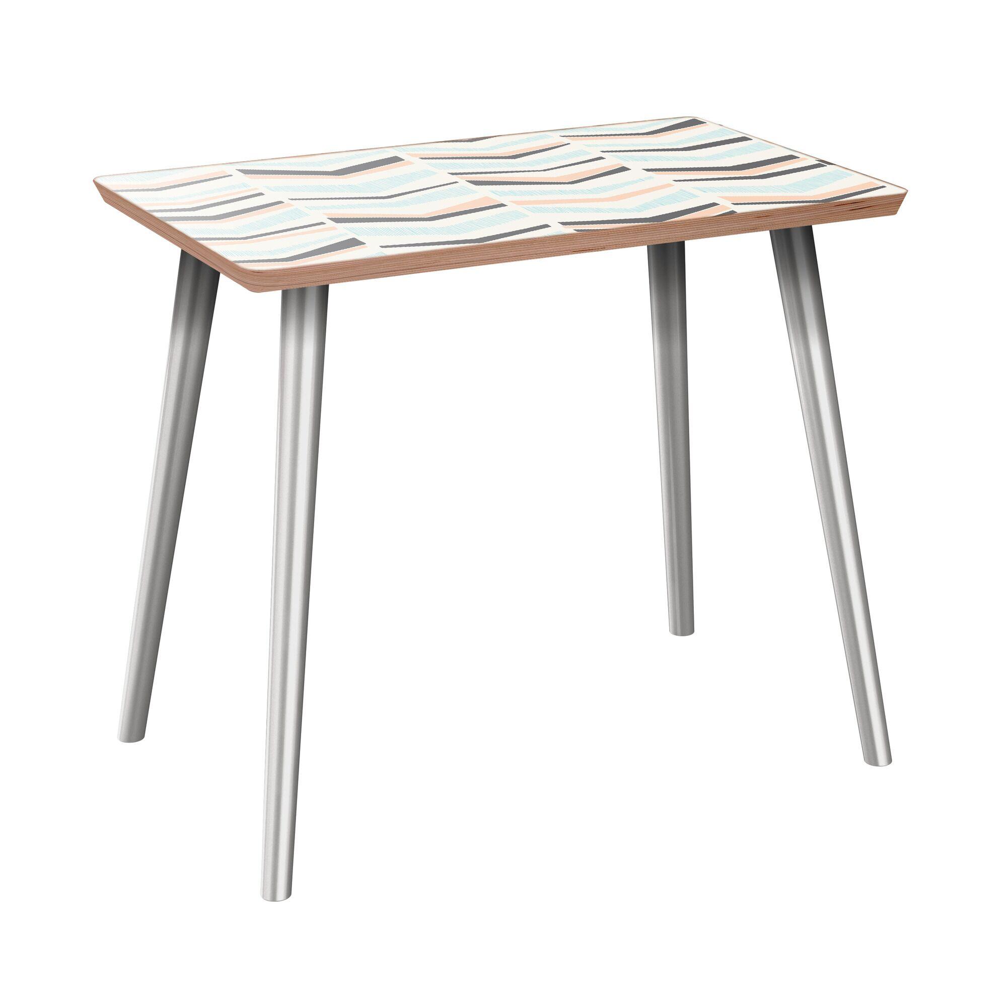 Everitt End Table Table Base Color: Chrome, Table Top Color: Walnut