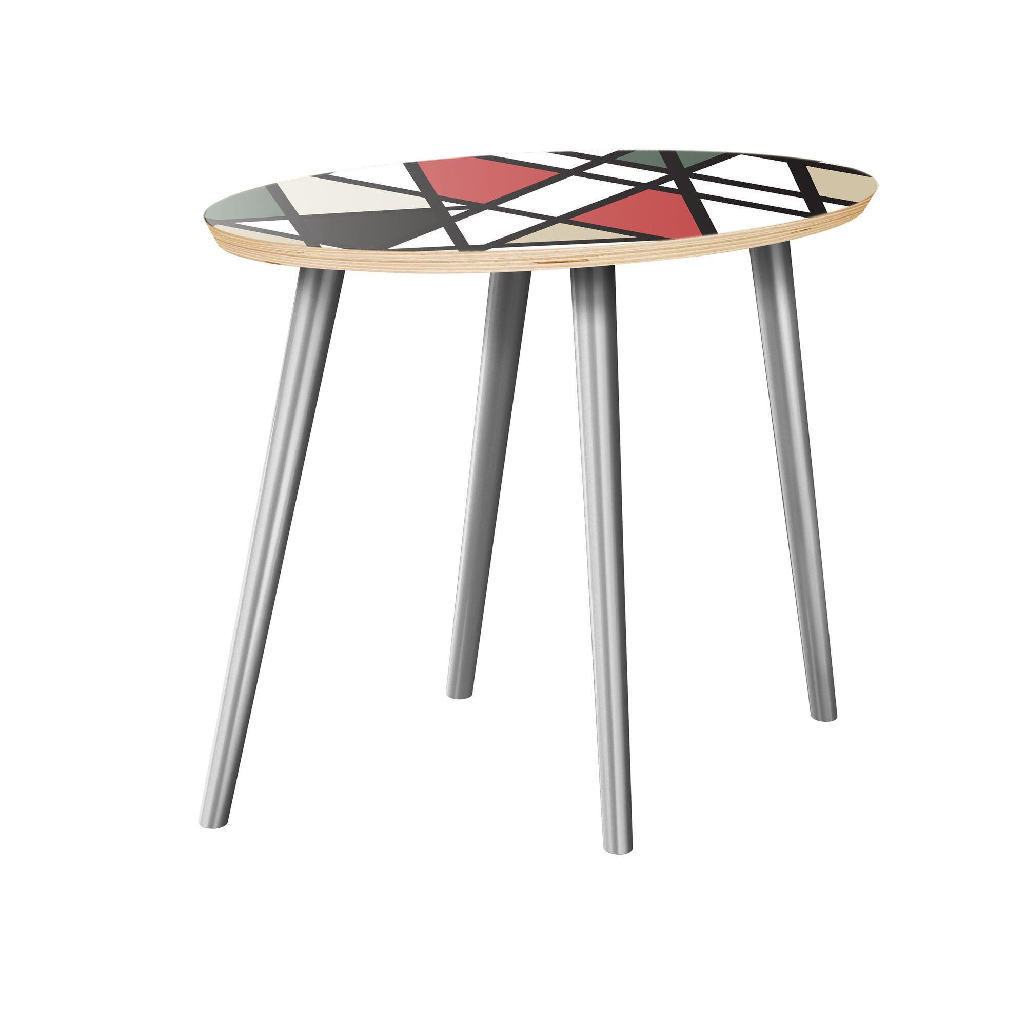 Jodi End Table Table Top Color: Natural, Table Base Color: Chrome