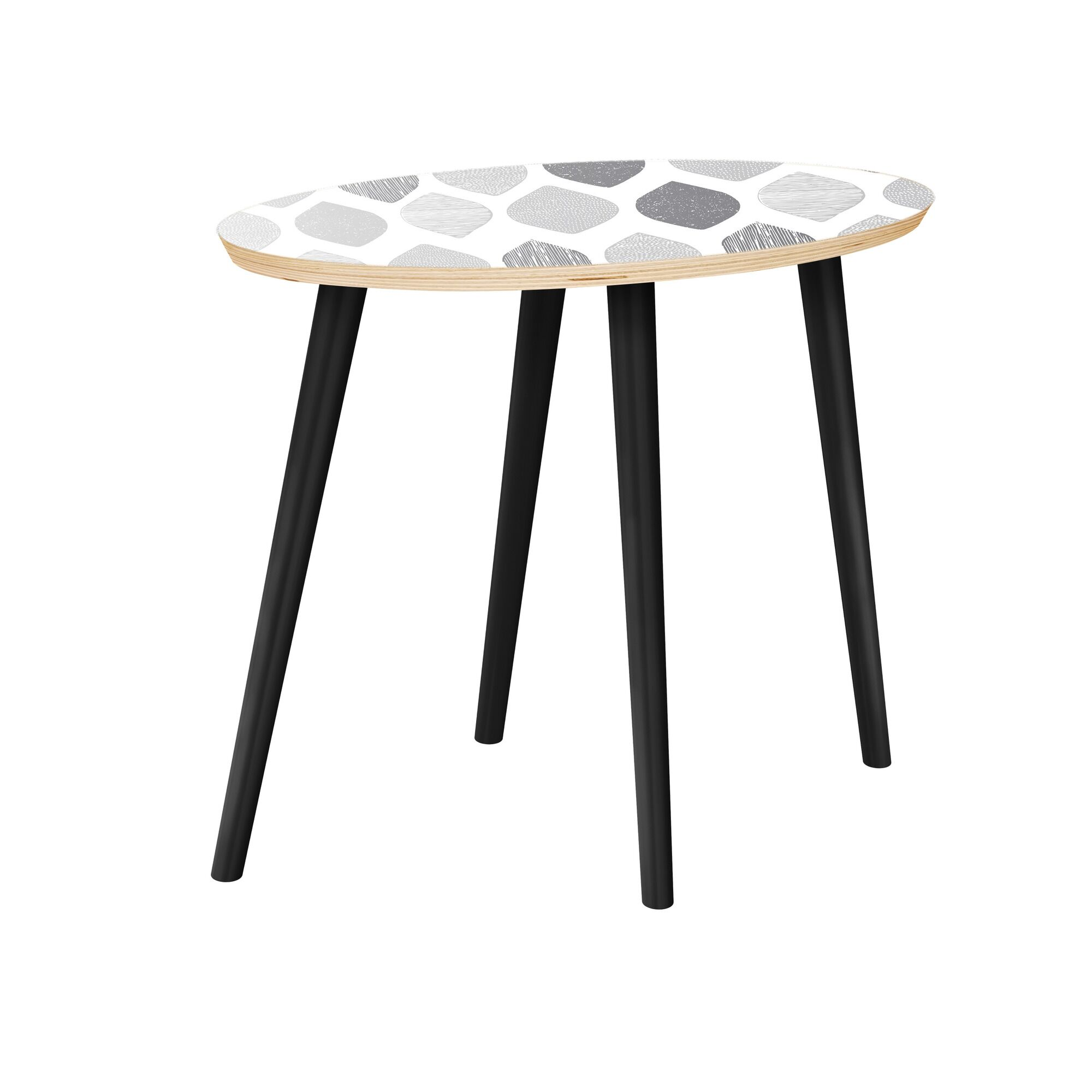 Joana End Table Table Top Color: Natural, Table Base Color: Black