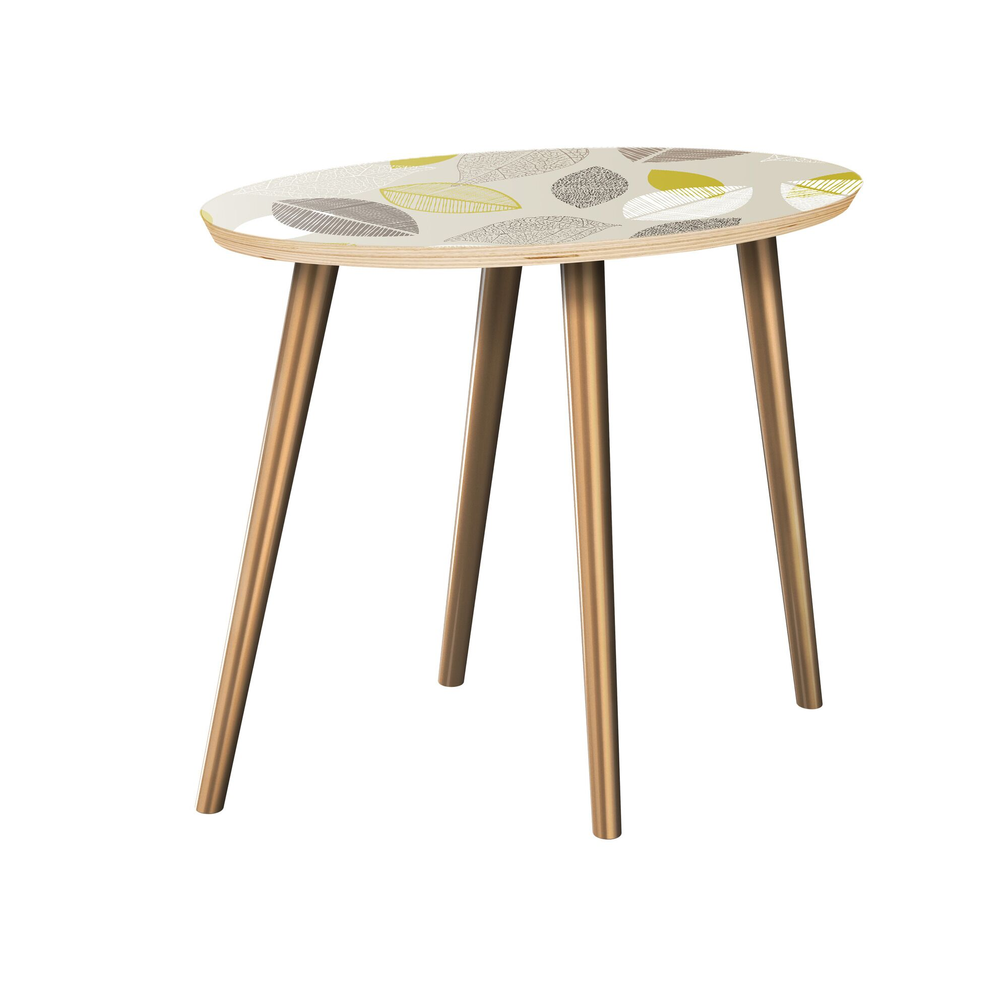 Krystin End Table Table Top Boarder Color: Natural, Table Base Color: Brass, Table Top Color: Green/Brown