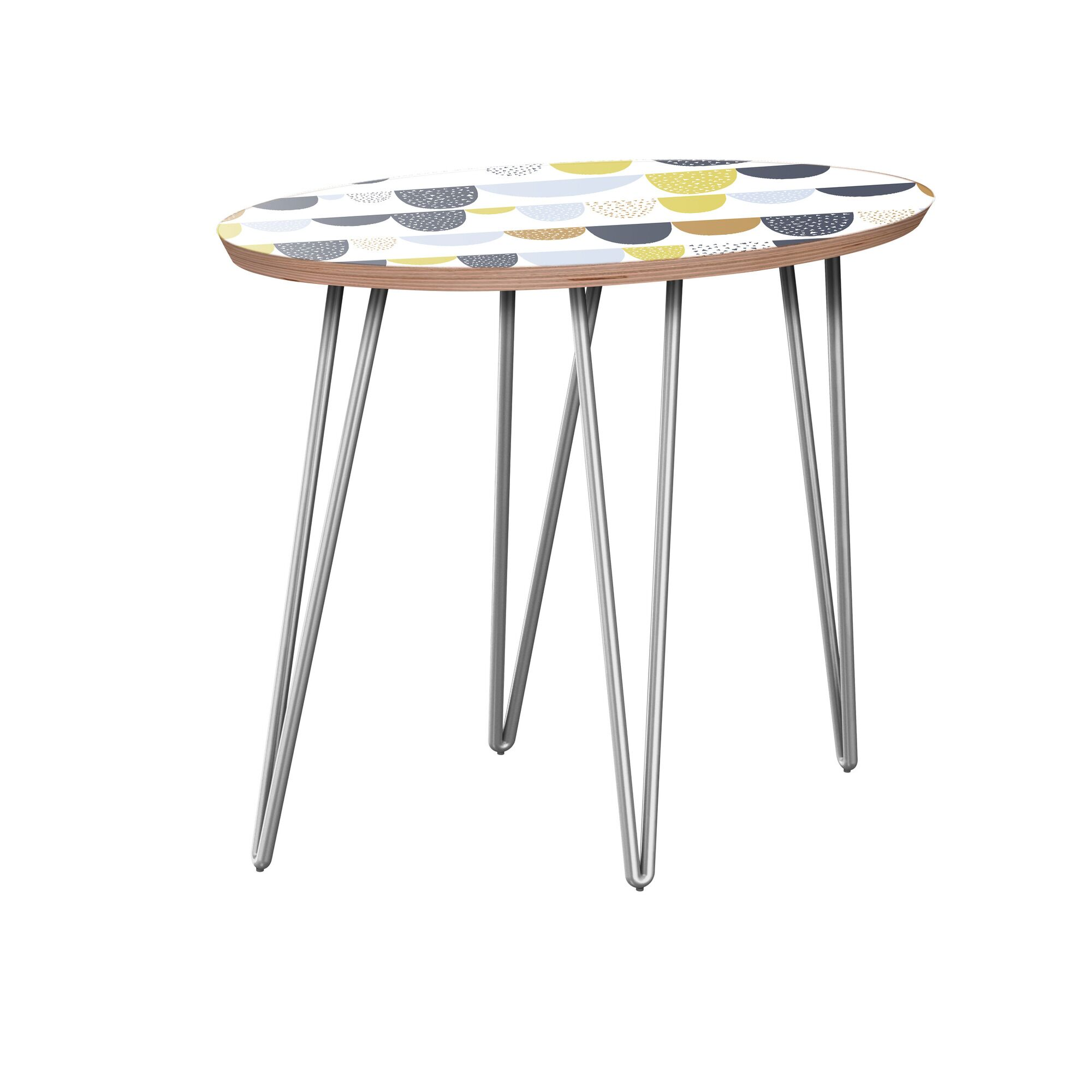 Junior End Table Table Base Color: Chrome, Table Top Color: Walnut