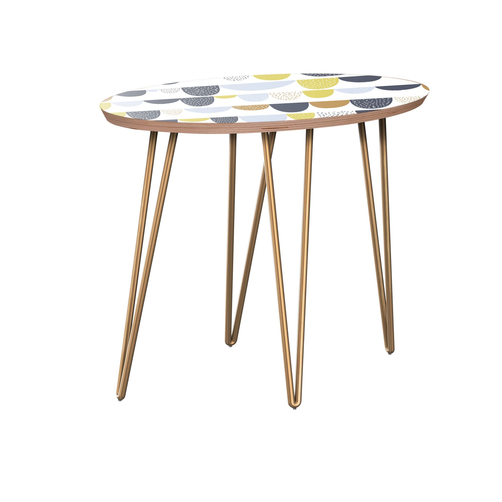 Junior End Table Table Base Color: Brass, Table Top Color: Walnut