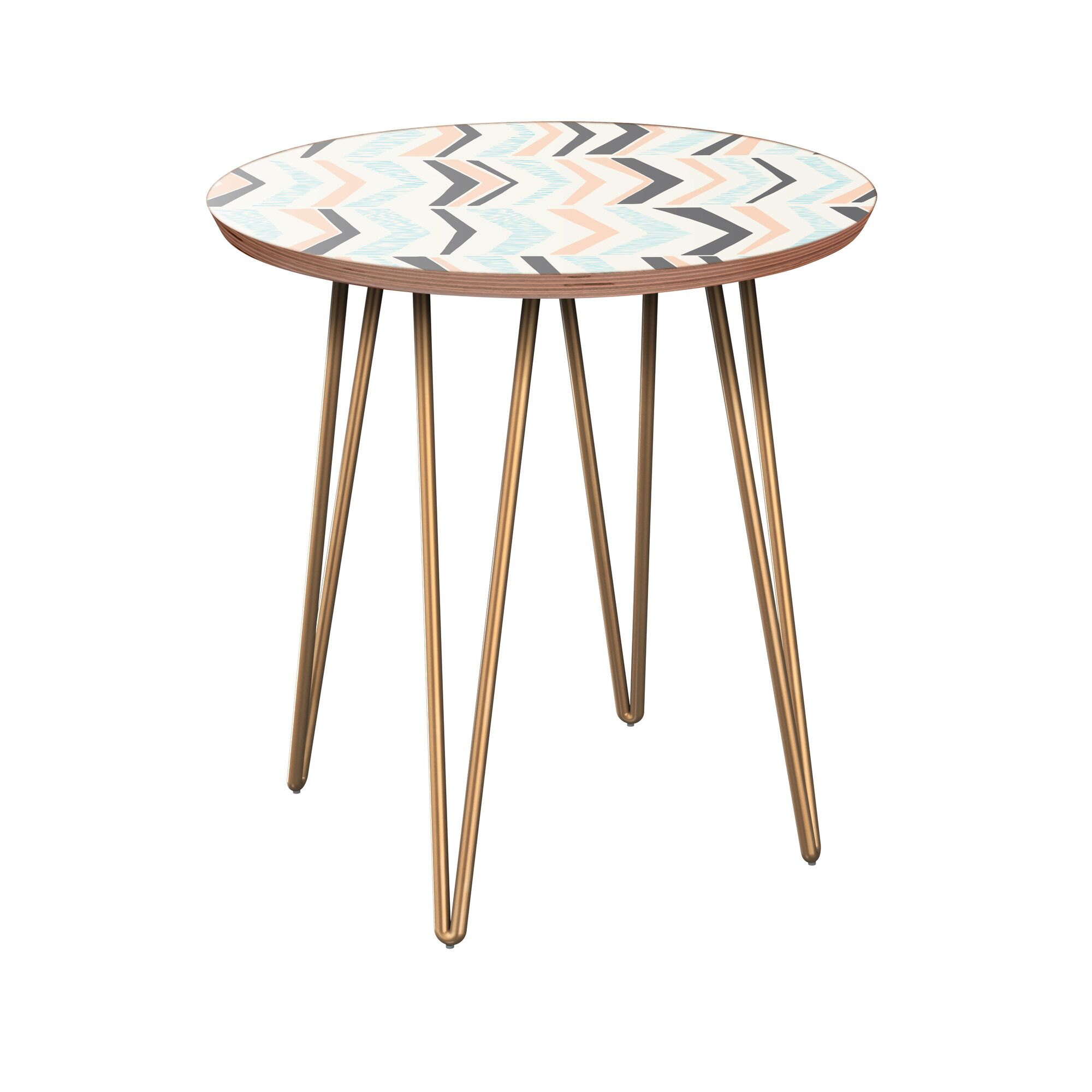 Jazalyn End Table Table Base Color: Brass, Table Top Color: Walnut