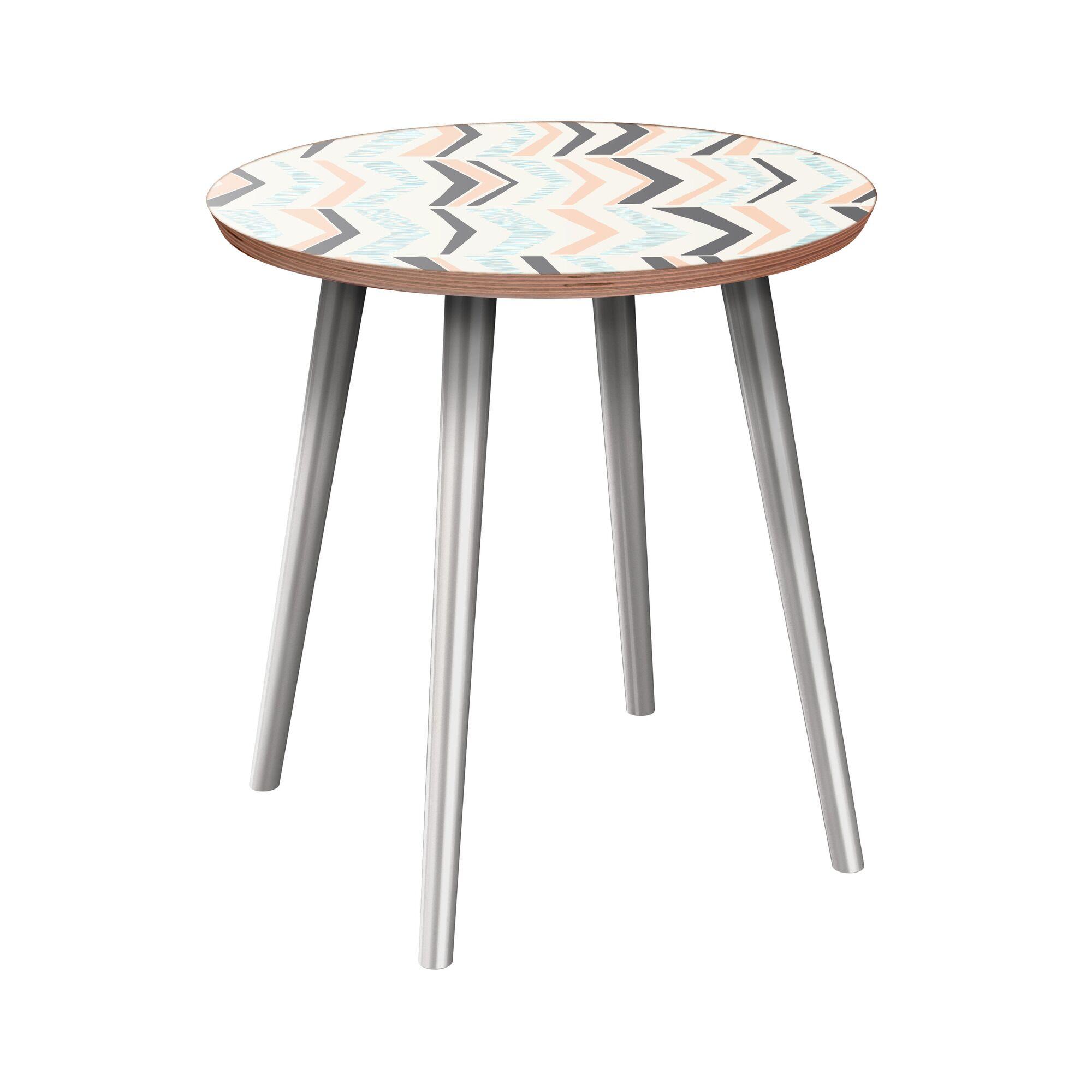Jazmyn End Table Table Base Color: Chrome, Table Top Color: Walnut