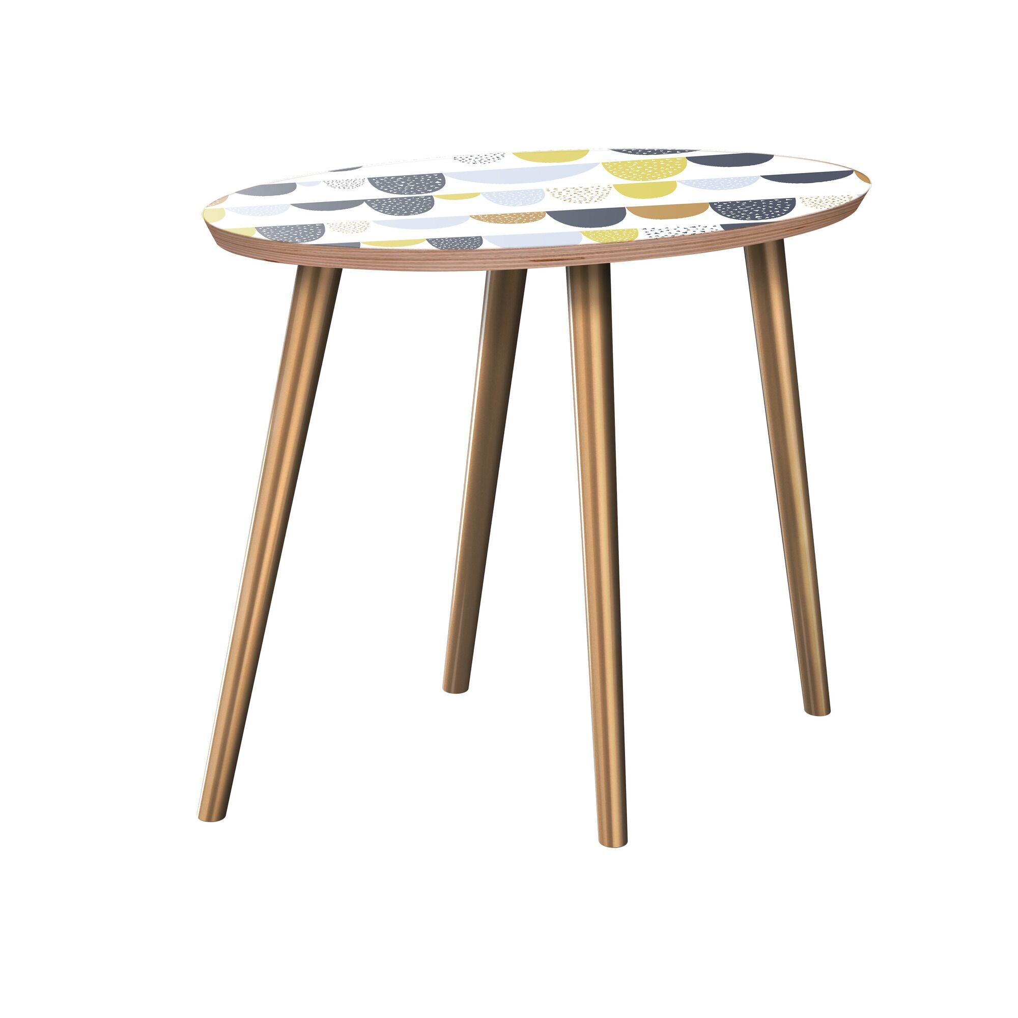 Junius End Table Table Base Color: Brass, Table Top Color: Walnut