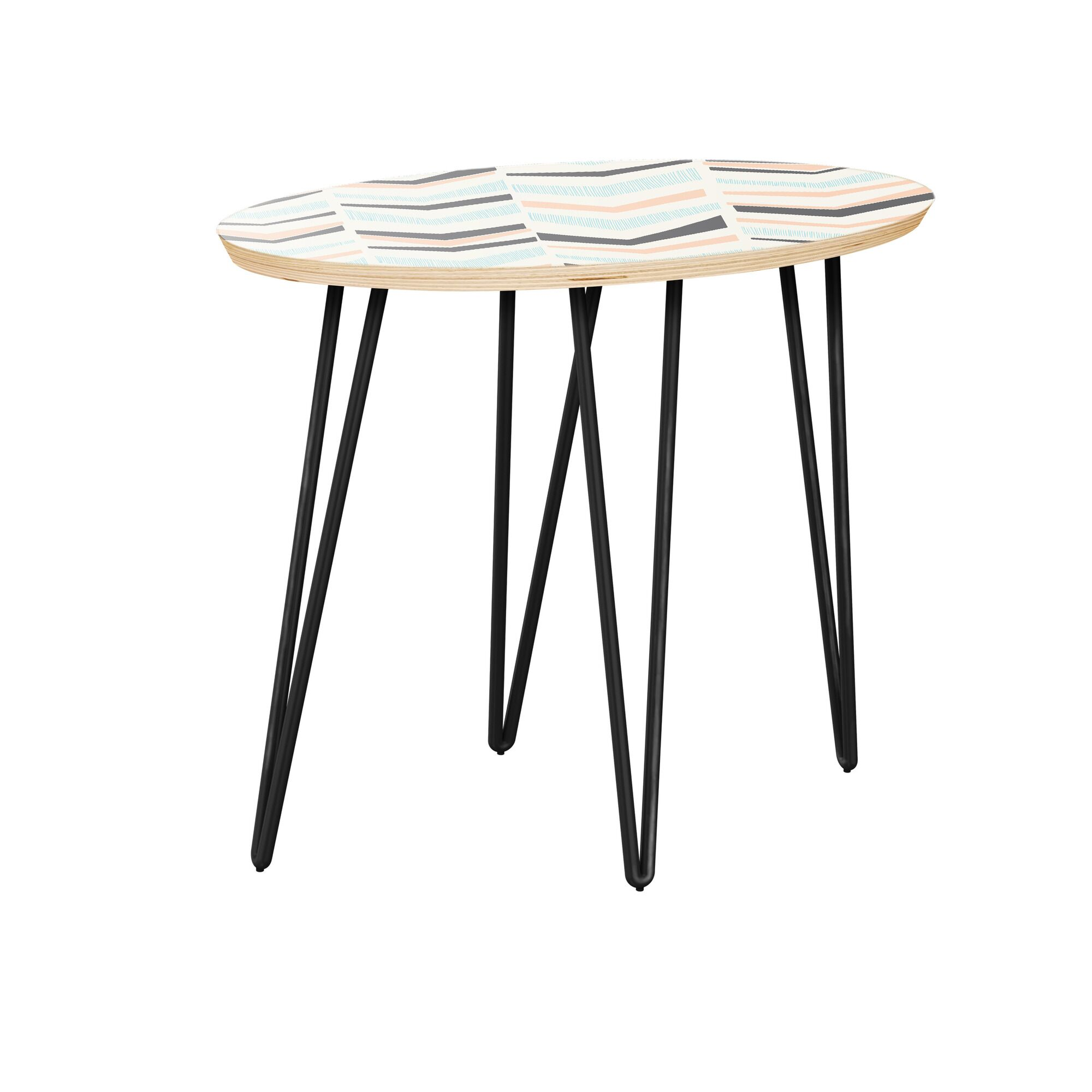 Kenly End Table Table Top Color: Natural, Table Base Color: Black