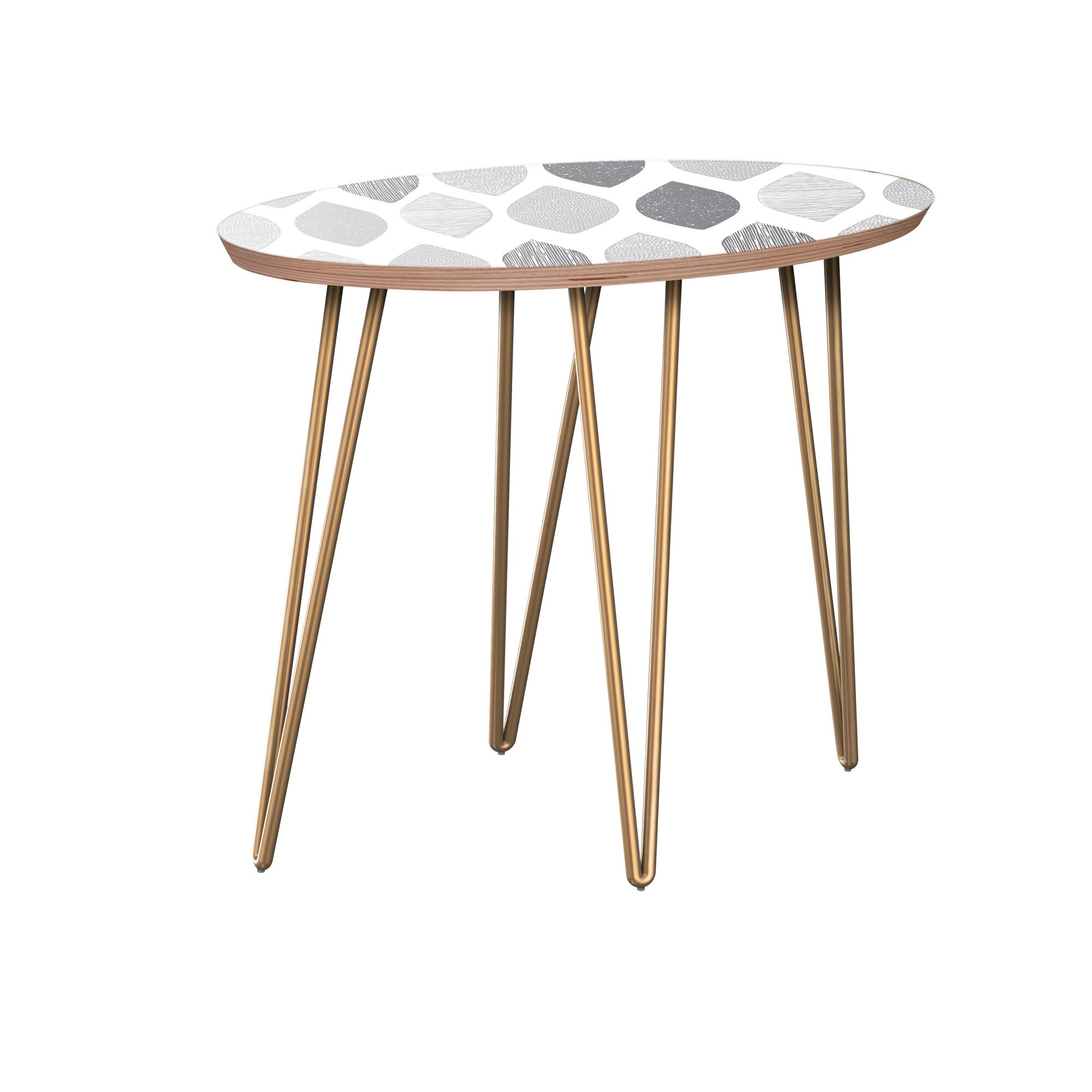 Jill End Table Table Base Color: Brass, Table Top Color: Walnut