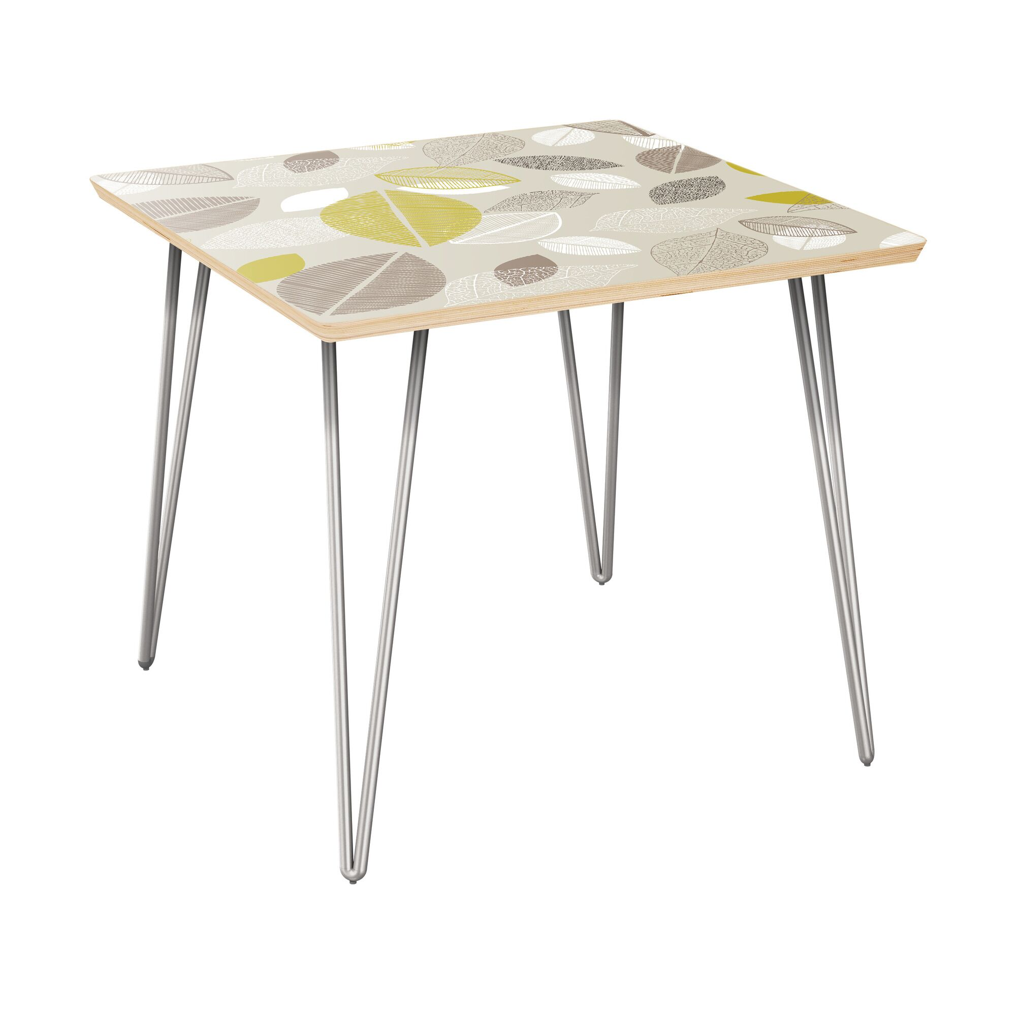 Schaper End Table Table Top Boarder Color: Natural, Table Base Color: Chrome, Table Top Color: Blue