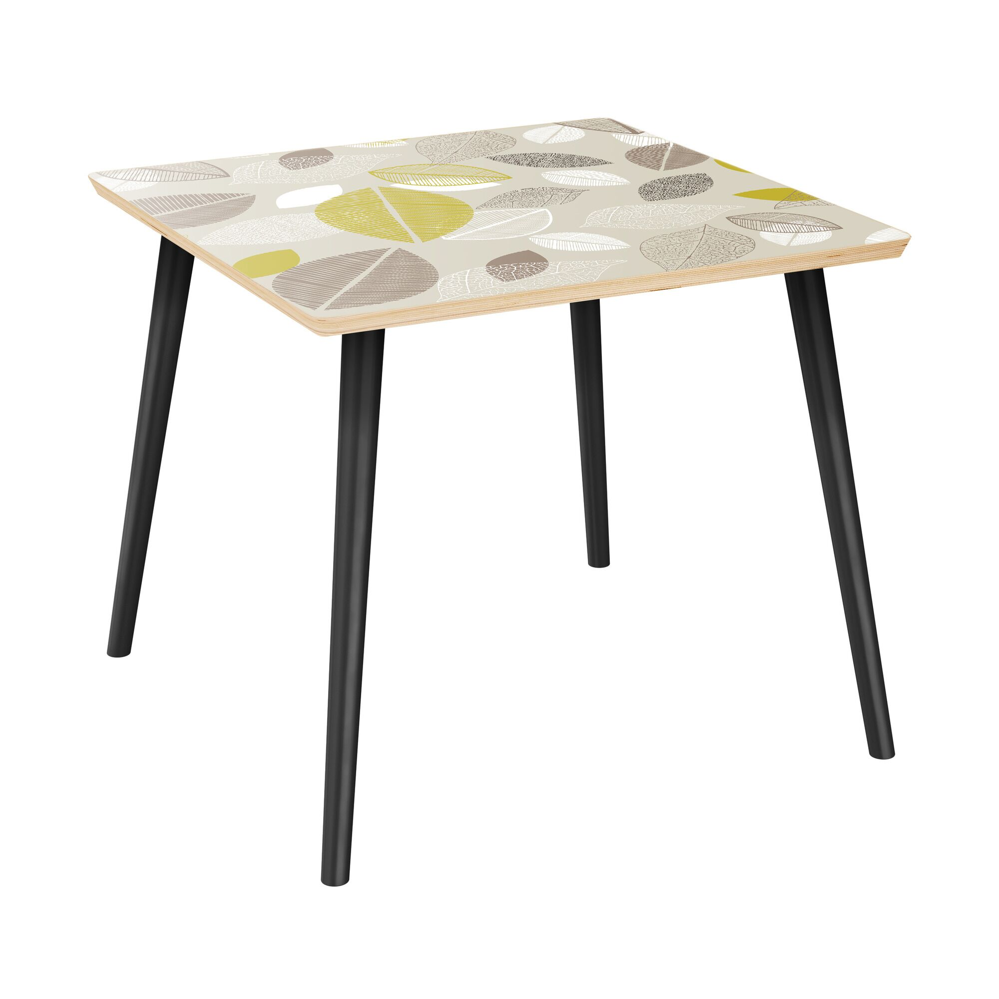 Scharff End Table Table Top Boarder Color: Natural, Table Base Color: Black, Table Top Color: Green/Brown