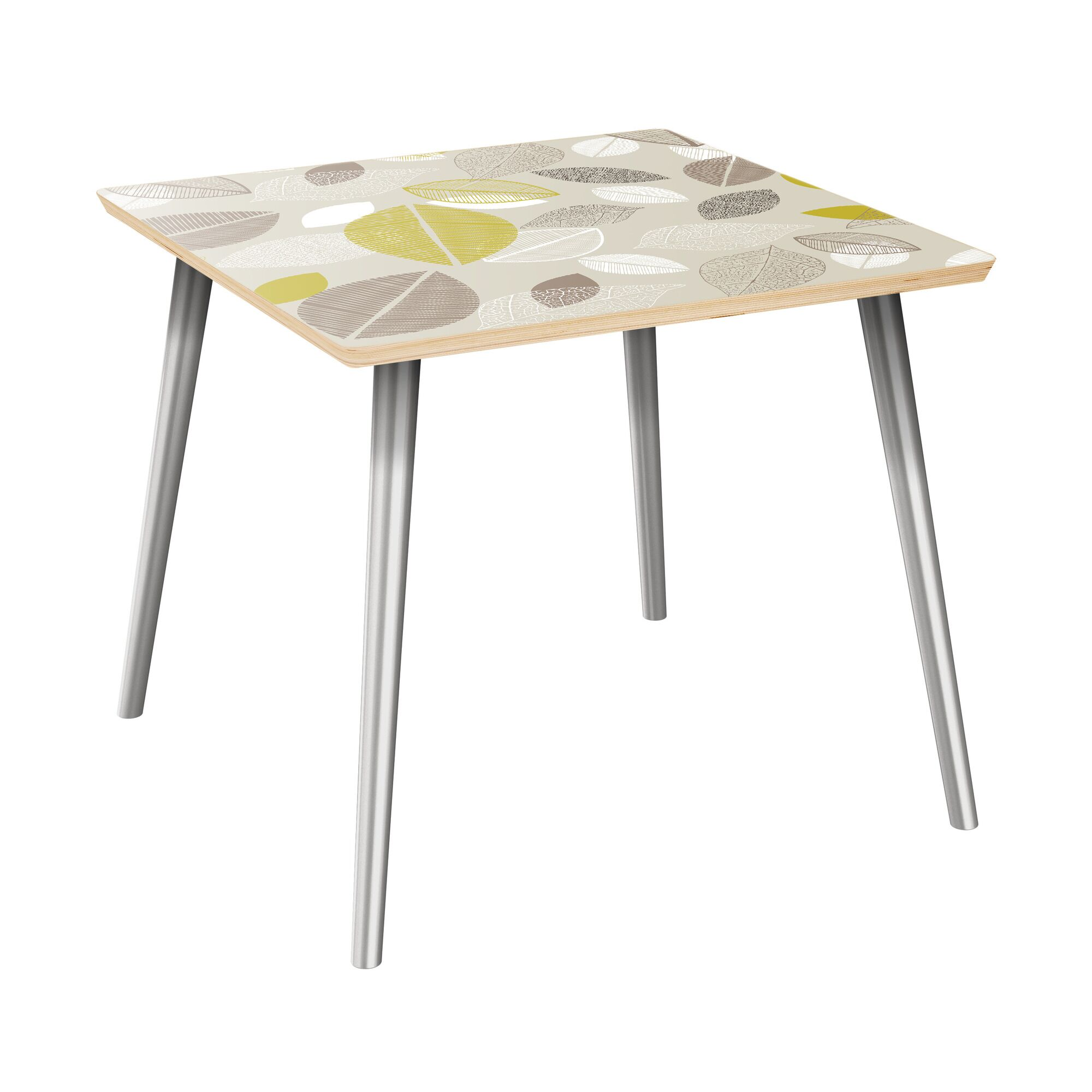 Scharff End Table Table Top Boarder Color: Natural, Table Base Color: Chrome, Table Top Color: Green/Brown
