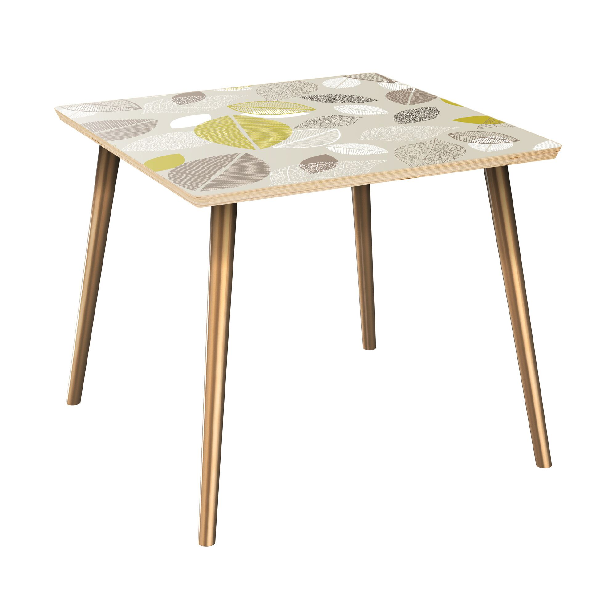 Scharff End Table Table Top Boarder Color: Natural, Table Base Color: Brass, Table Top Color: Blue