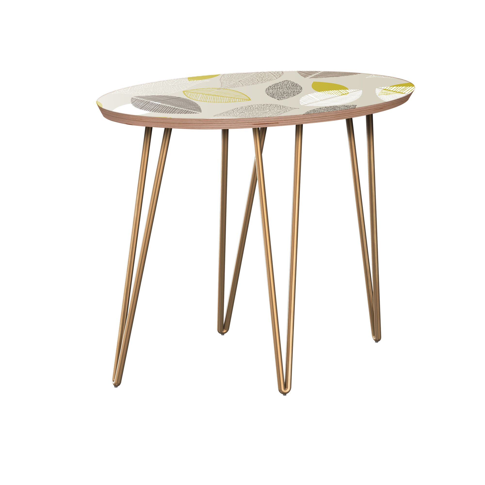 Krysten End Table Table Base Color: Brass, Table Top Boarder Color: Walnut, Table Top Color: Blue