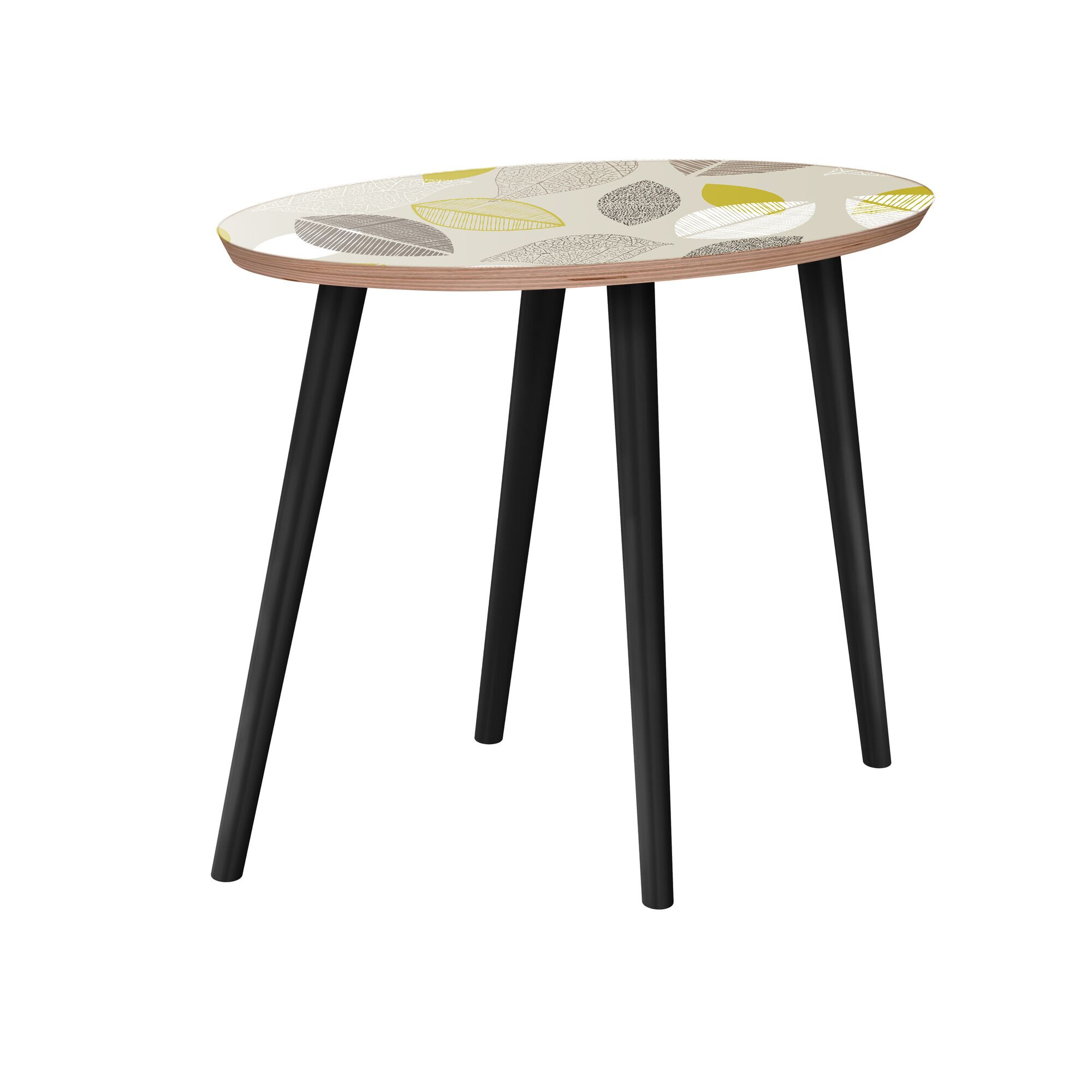 Krystin End Table Table Base Color: Black, Table Top Boarder Color: Walnut, Table Top Color: Green/Brown