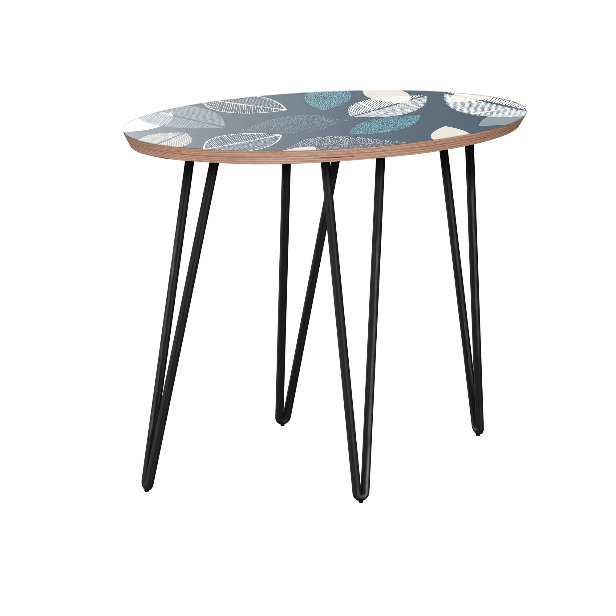 Krysten End Table Table Base Color: Black, Table Top Boarder Color: Walnut, Table Top Color: Blue
