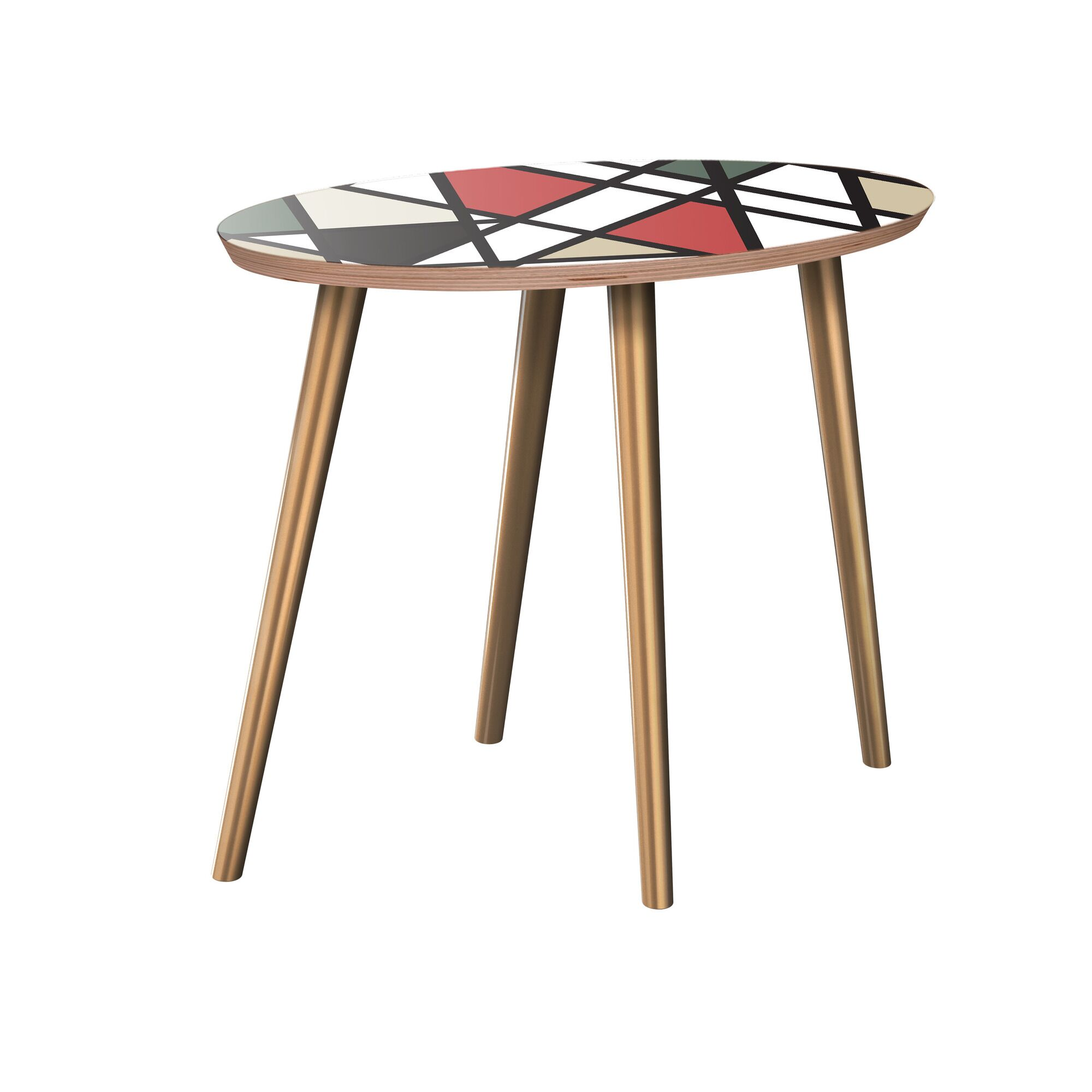 Jodi End Table Table Base Color: Brass, Table Top Color: Walnut