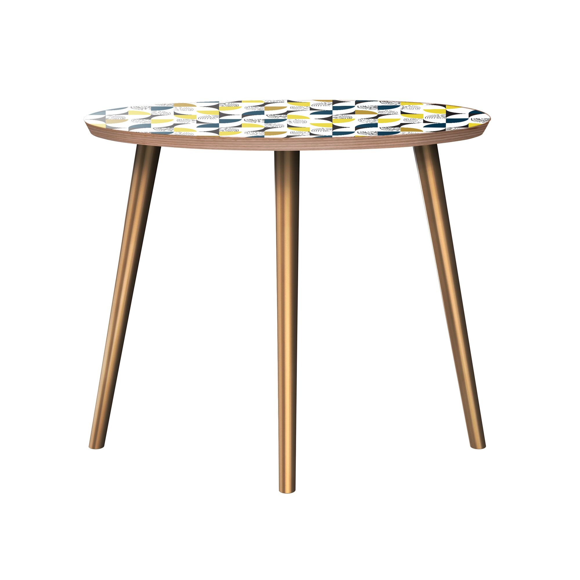 Kruze End Table Table Base Color: Brass, Table Top Color: Walnut