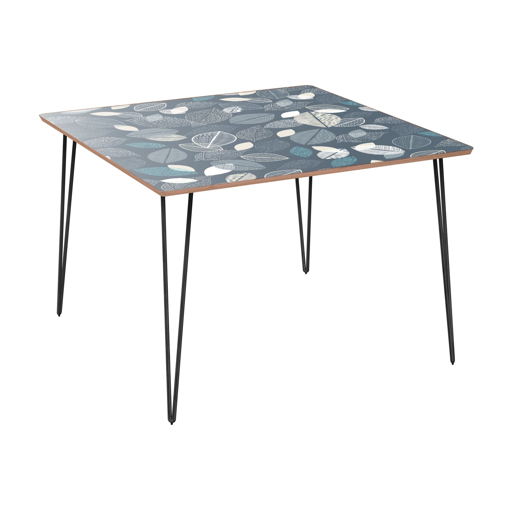 Coaxum Dining Table Table Base Color: Black, Table Top Boarder Color: Walnut, Table Top Color: Green/Brown
