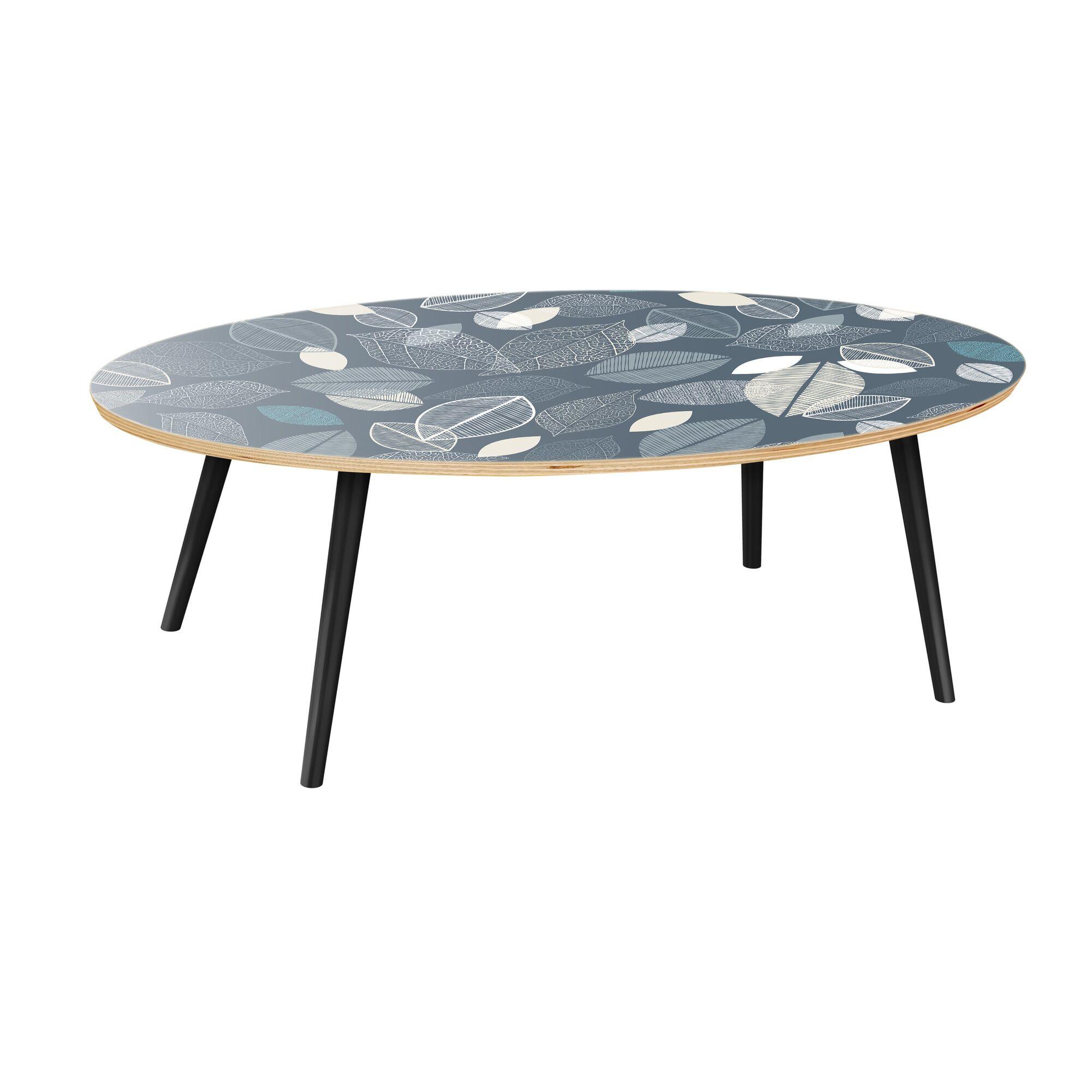 Kirstin Coffee Table Table Base Color: Black, Table Top Boarder Color: Walnut, Table Top Color: Blue