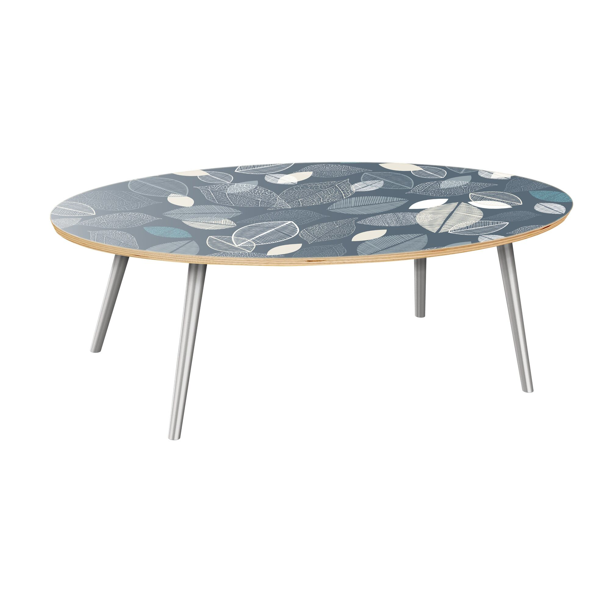 Kirstin Coffee Table Table Top Boarder Color: Natural, Table Base Color: Chrome, Table Top Color: Green/Brown