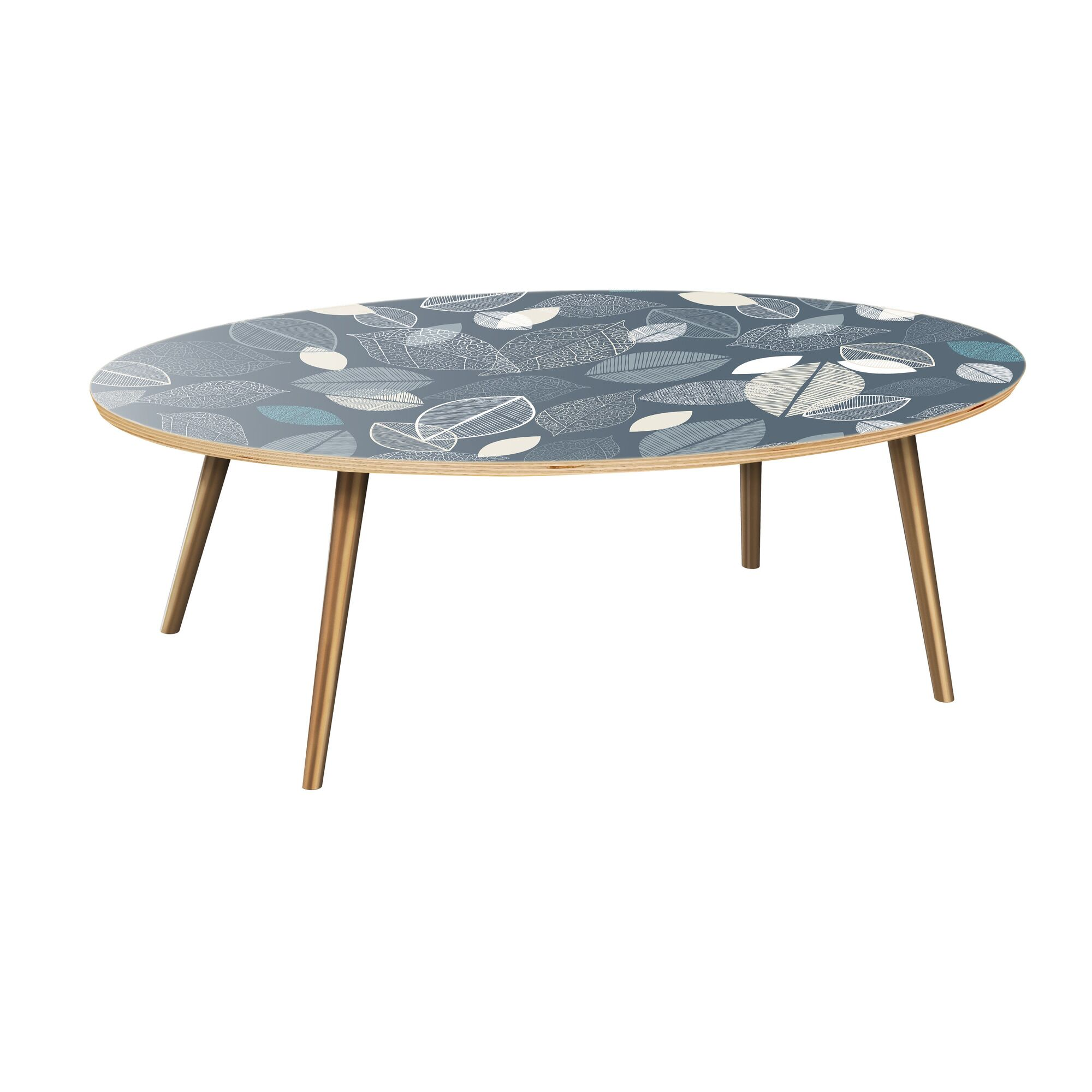 Kirstin Coffee Table Table Top Boarder Color: Natural, Table Base Color: Brass, Table Top Color: Green/Brown