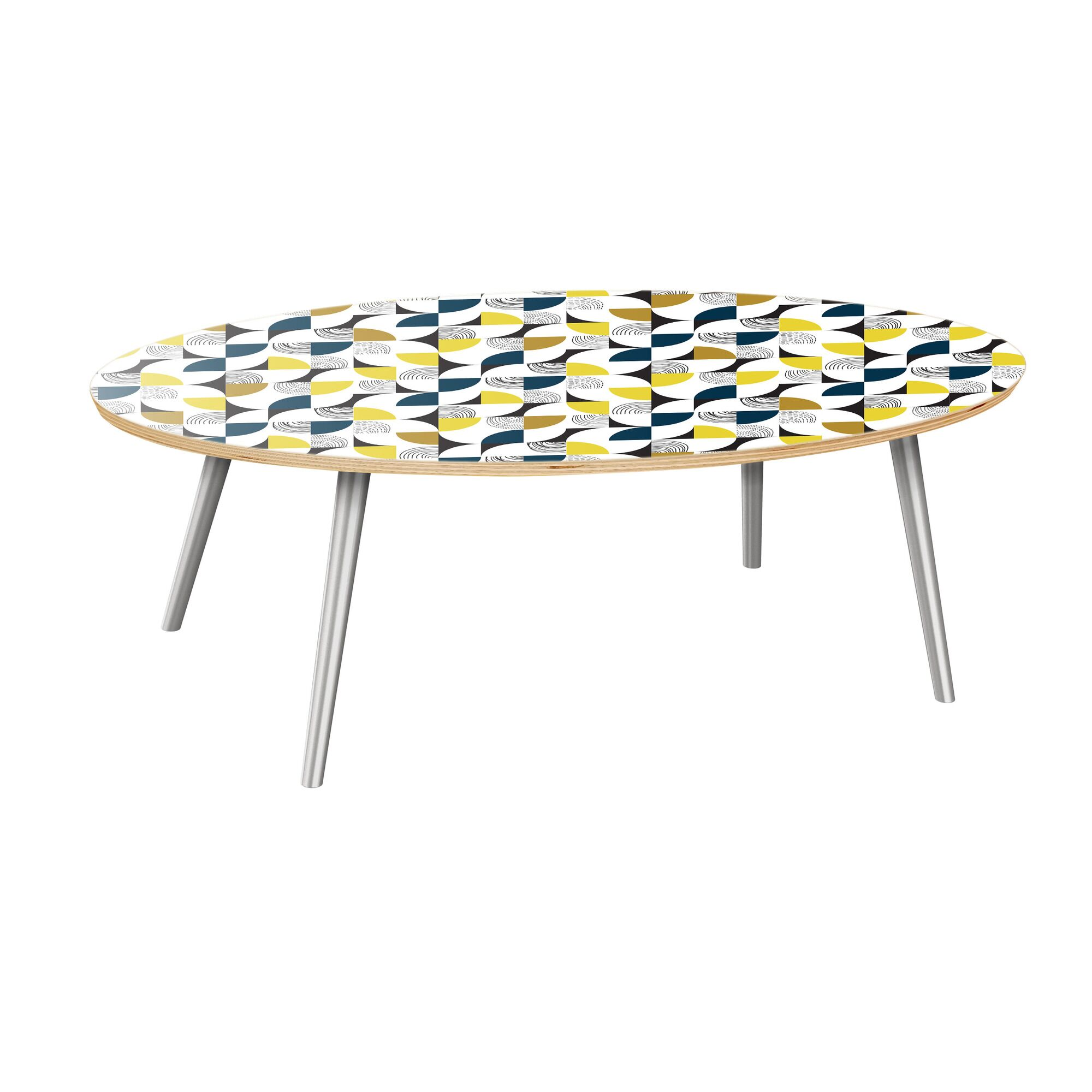 Kingsville Coffee Table Table Top Color: Natural, Table Base Color: Chrome
