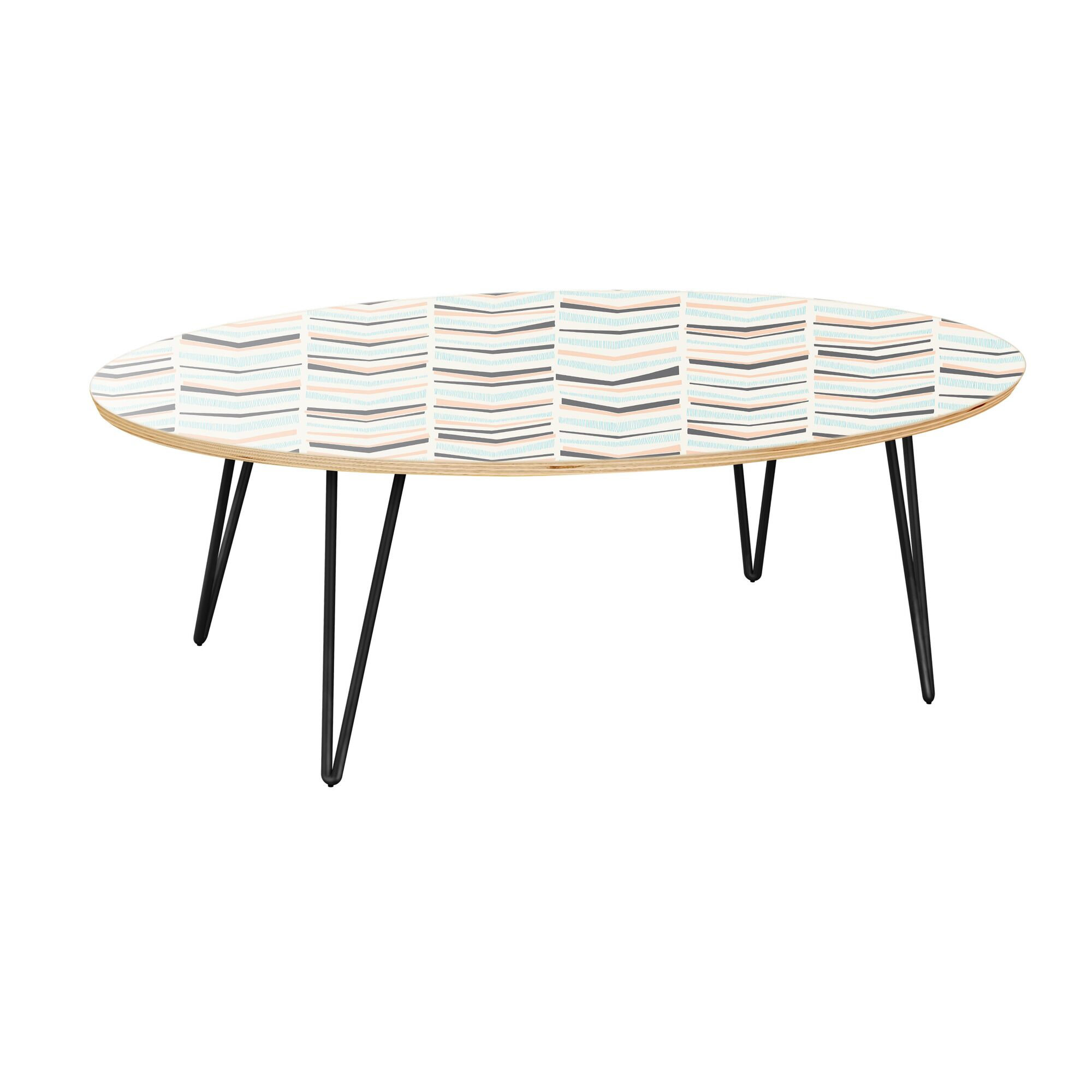 Keshia Coffee Table Table Top Color: Natural, Table Base Color: Black