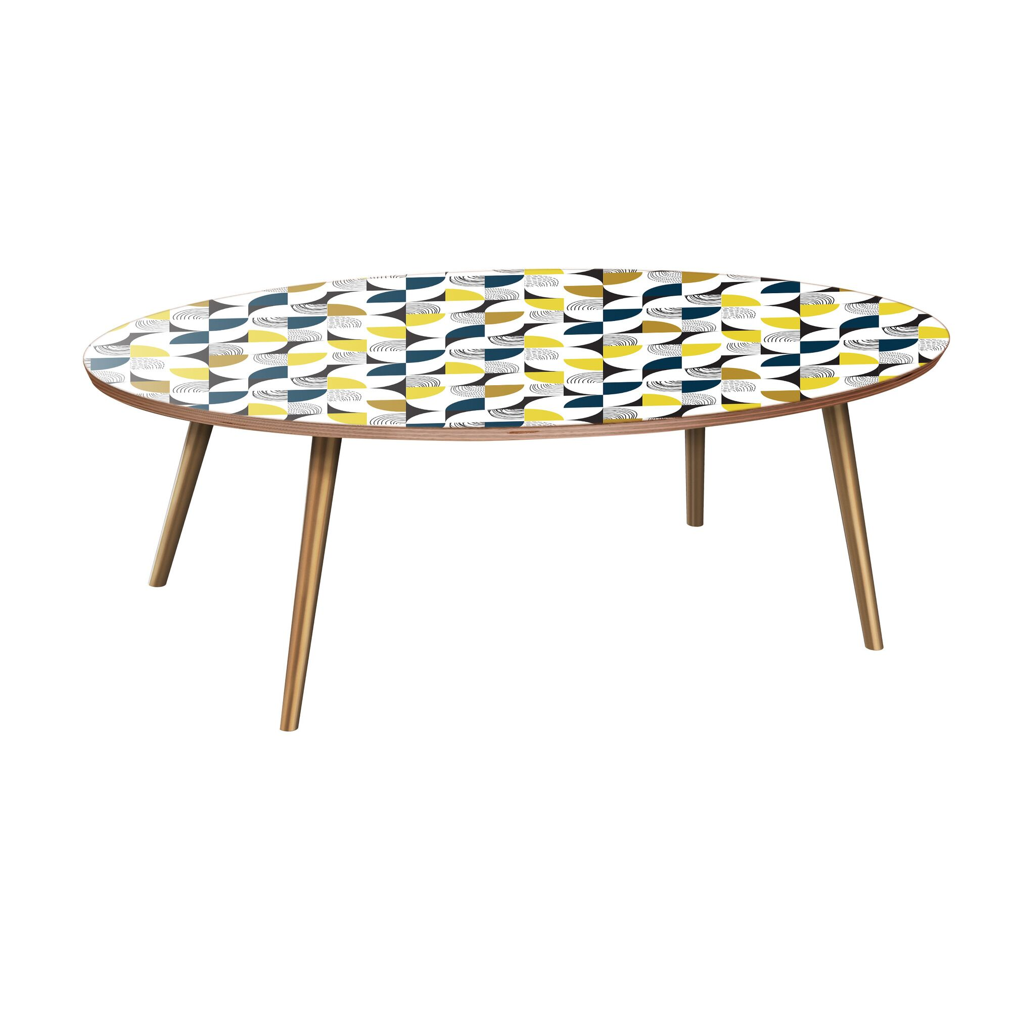 Kingsville Coffee Table Table Base Color: Brass, Table Top Color: Walnut