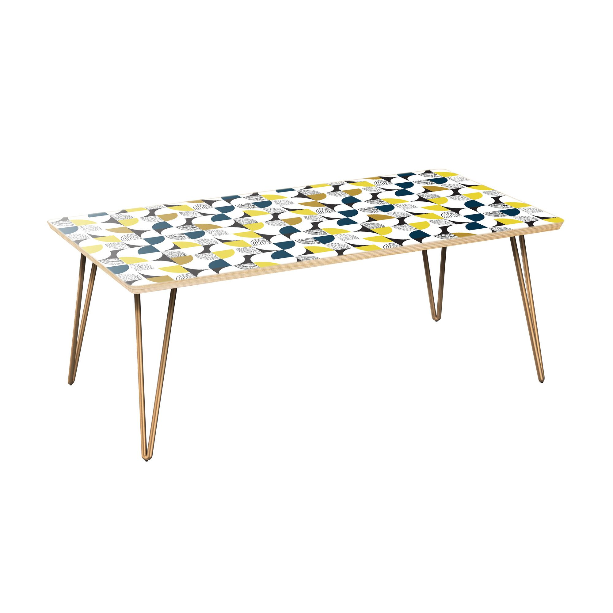 Jonell Coffee Table Table Top Color: Natural, Table Base Color: Brass