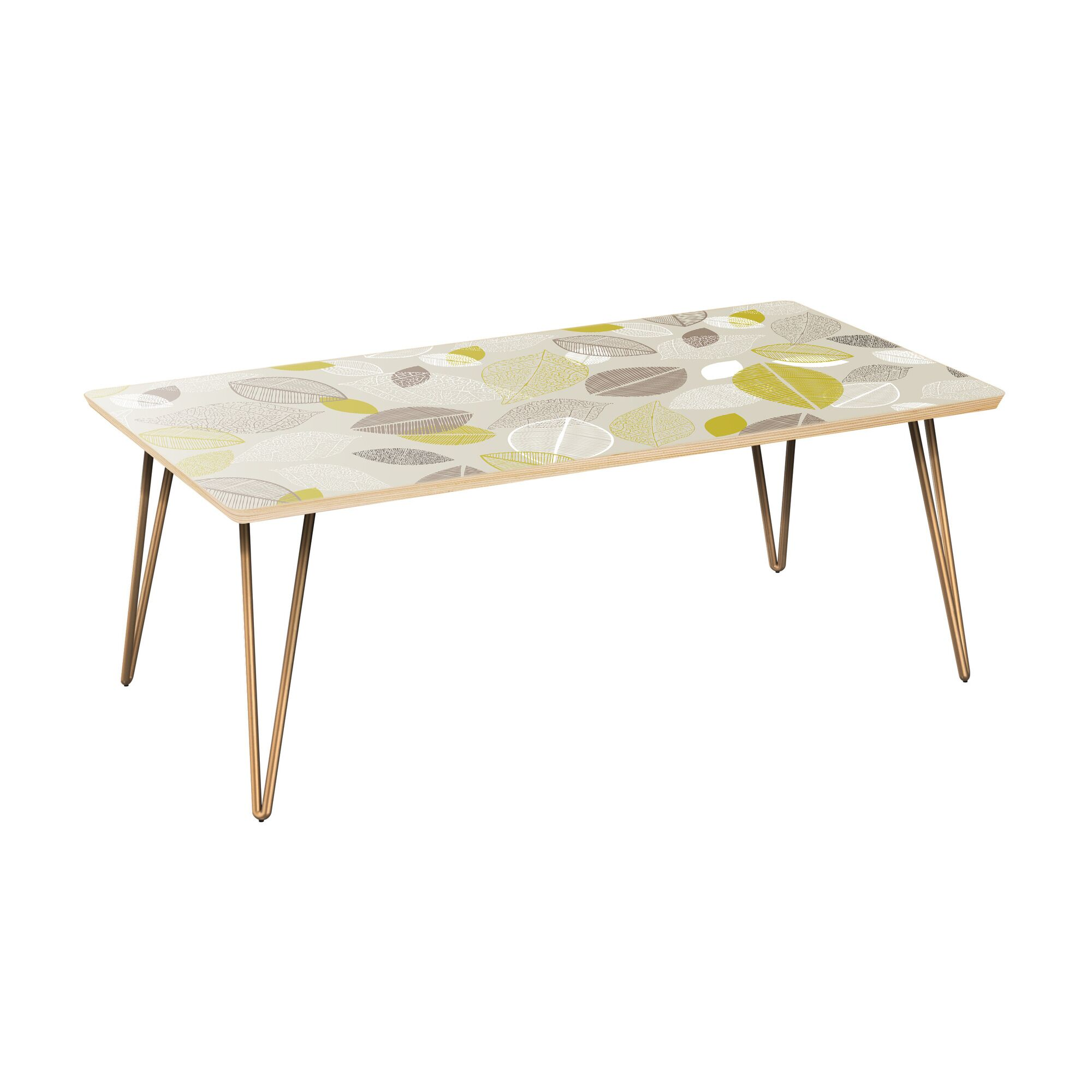 Richarson Coffee Table Table Top Boarder Color: Natural, Table Base Color: Brass, Table Top Color: Blue