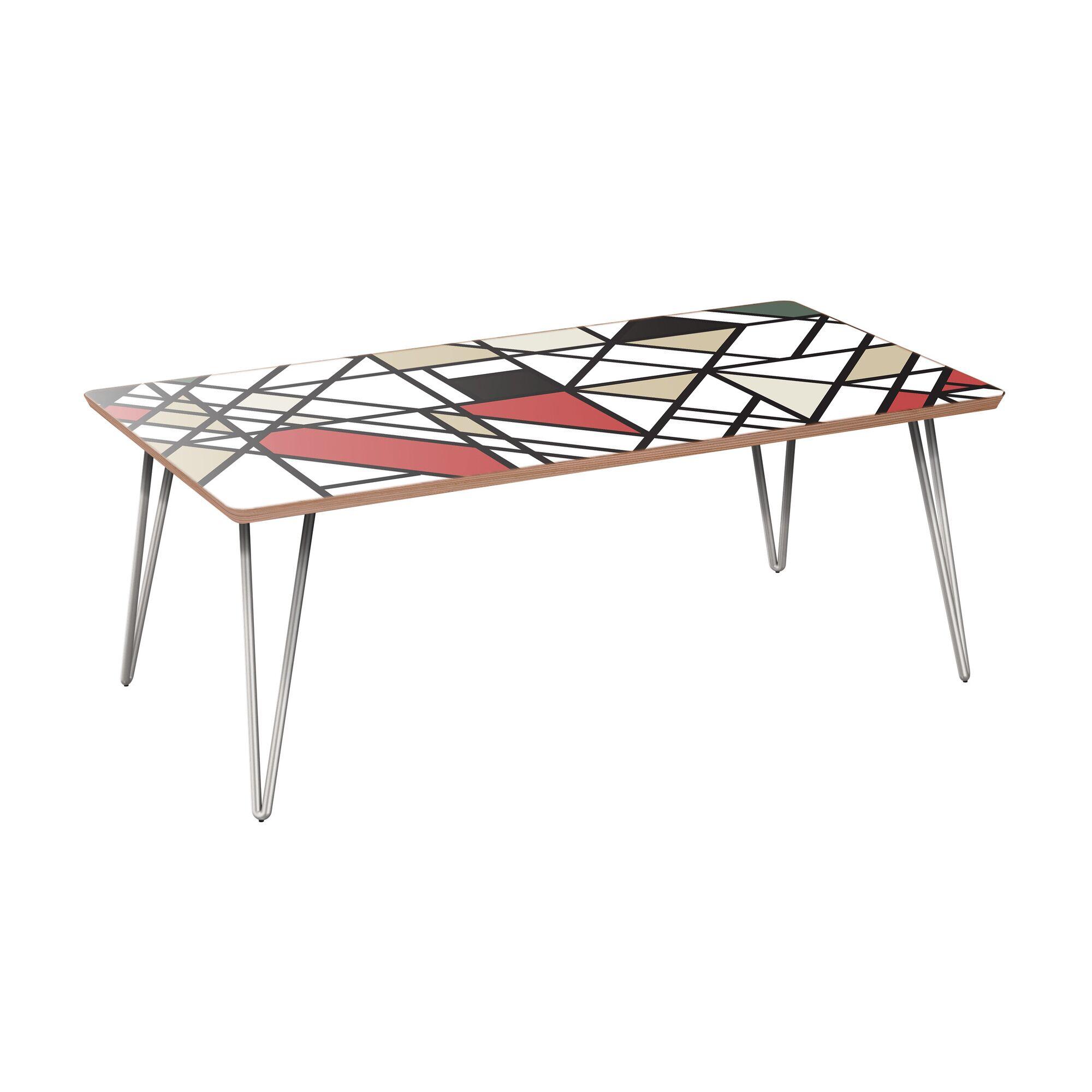 Johathan Coffee Table Table Base Color: Chrome, Table Top Color: Walnut