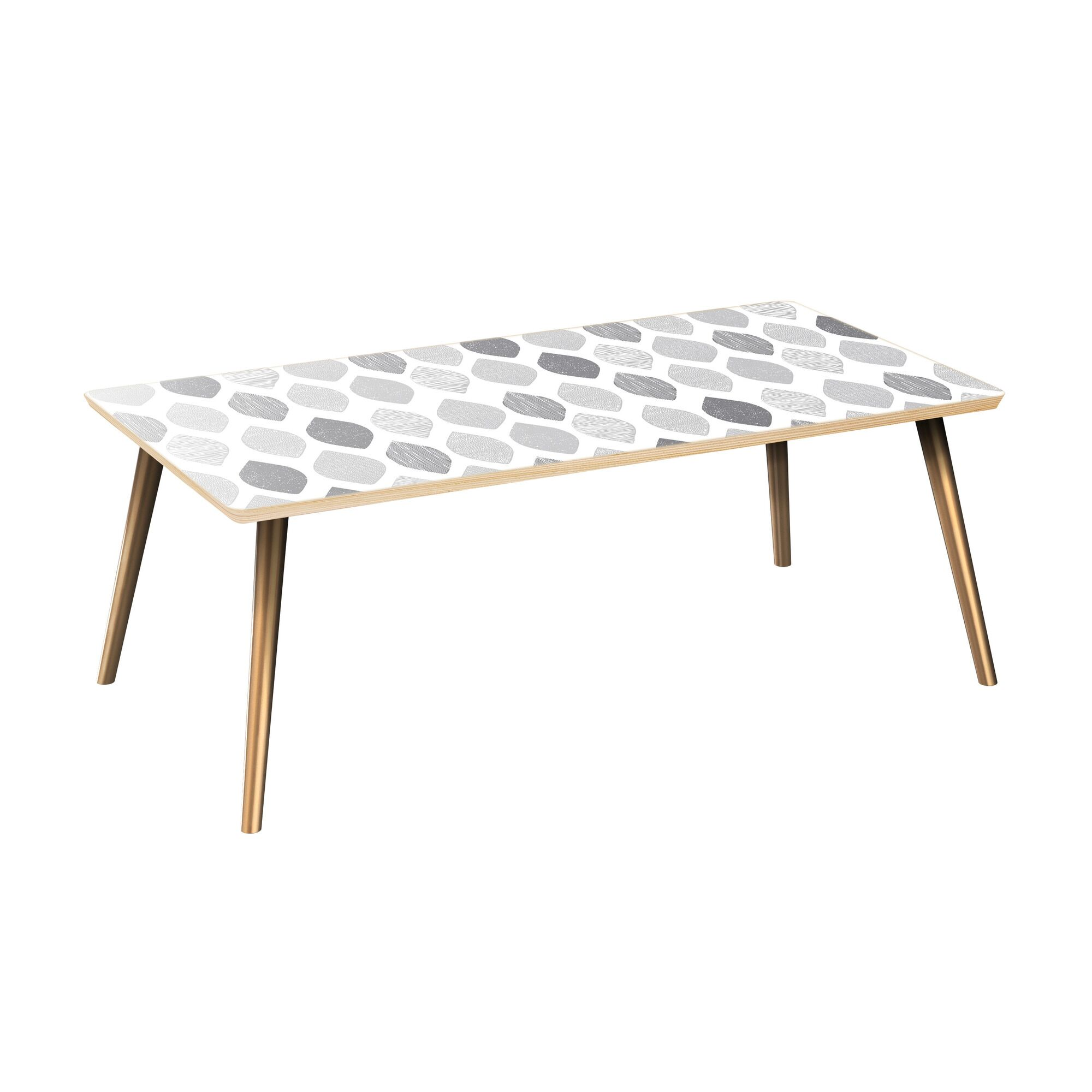 Kacie Coffee Table Table Top Color: Natural, Table Base Color: Brass