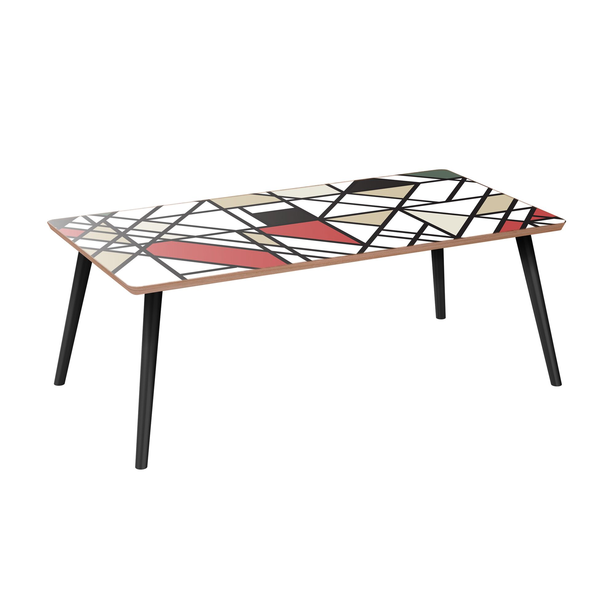 Joline Coffee Table Table Base Color: Black, Table Top Color: Walnut