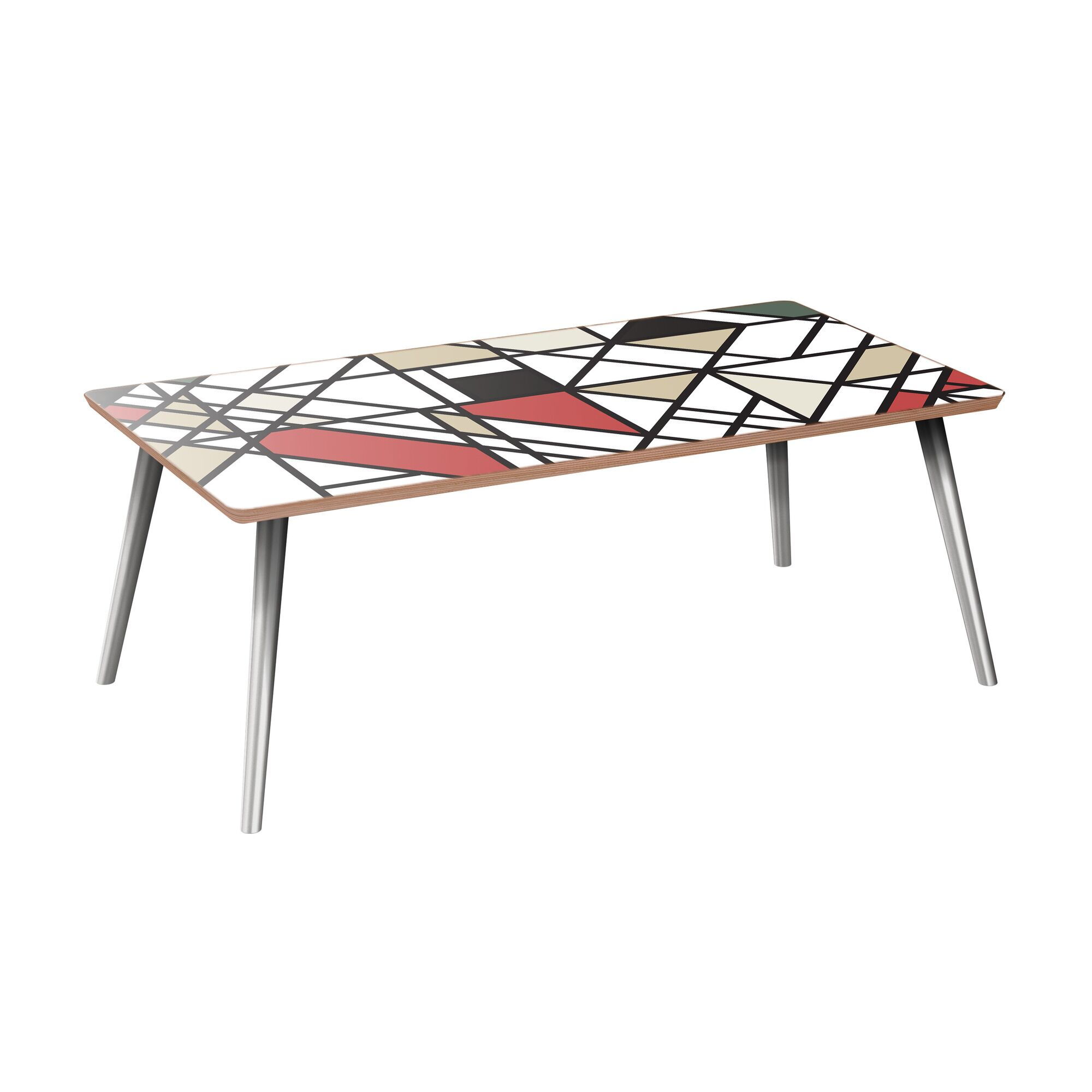 Joline Coffee Table Table Base Color: Chrome, Table Top Color: Walnut