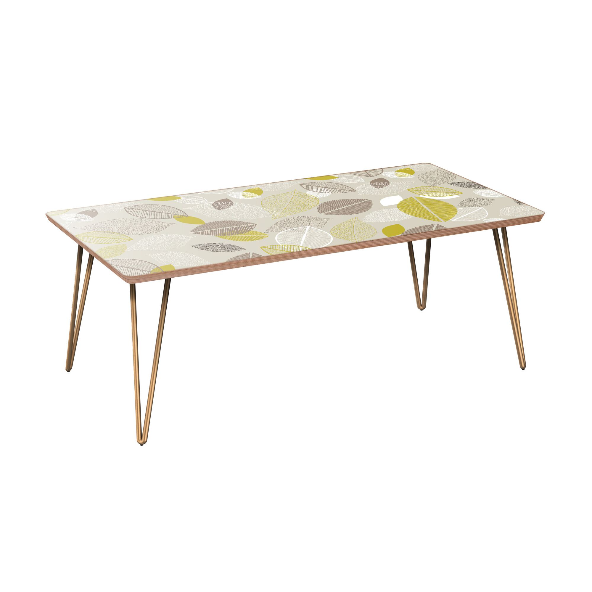 Richarson Coffee Table Table Base Color: Brass, Table Top Boarder Color: Walnut, Table Top Color: Blue