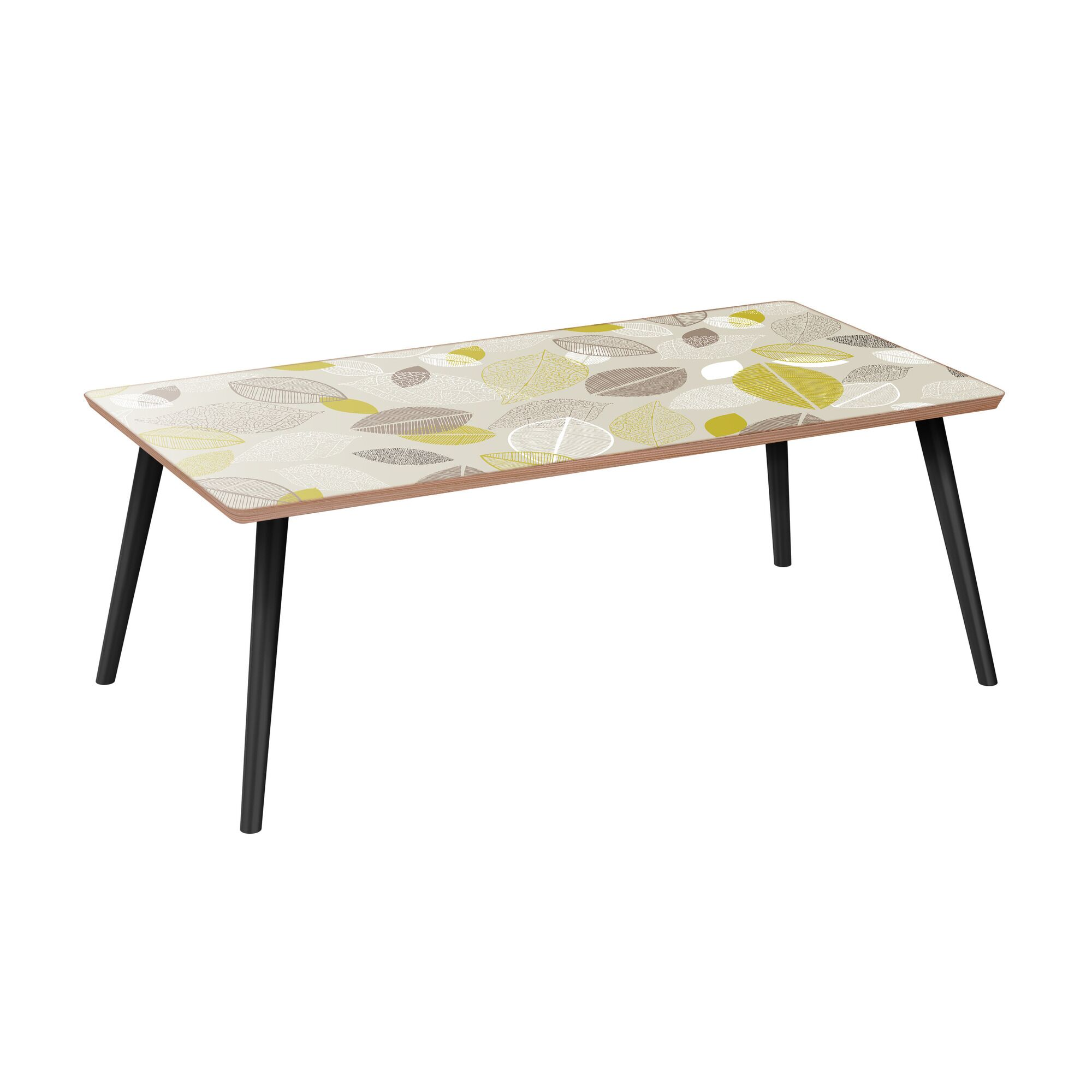 Richart Coffee Table Table Base Color: Black, Table Top Boarder Color: Walnut, Table Top Color: Green/Brown