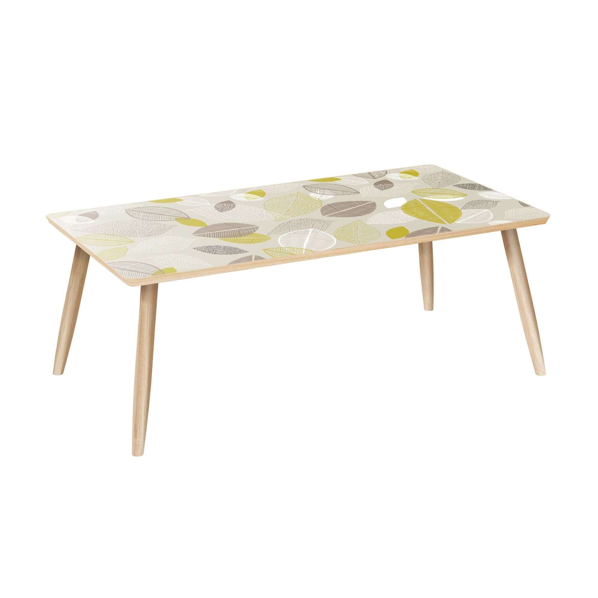 Mamie Coffee Table Table Base Color: Natural, Table Top Color: Blue