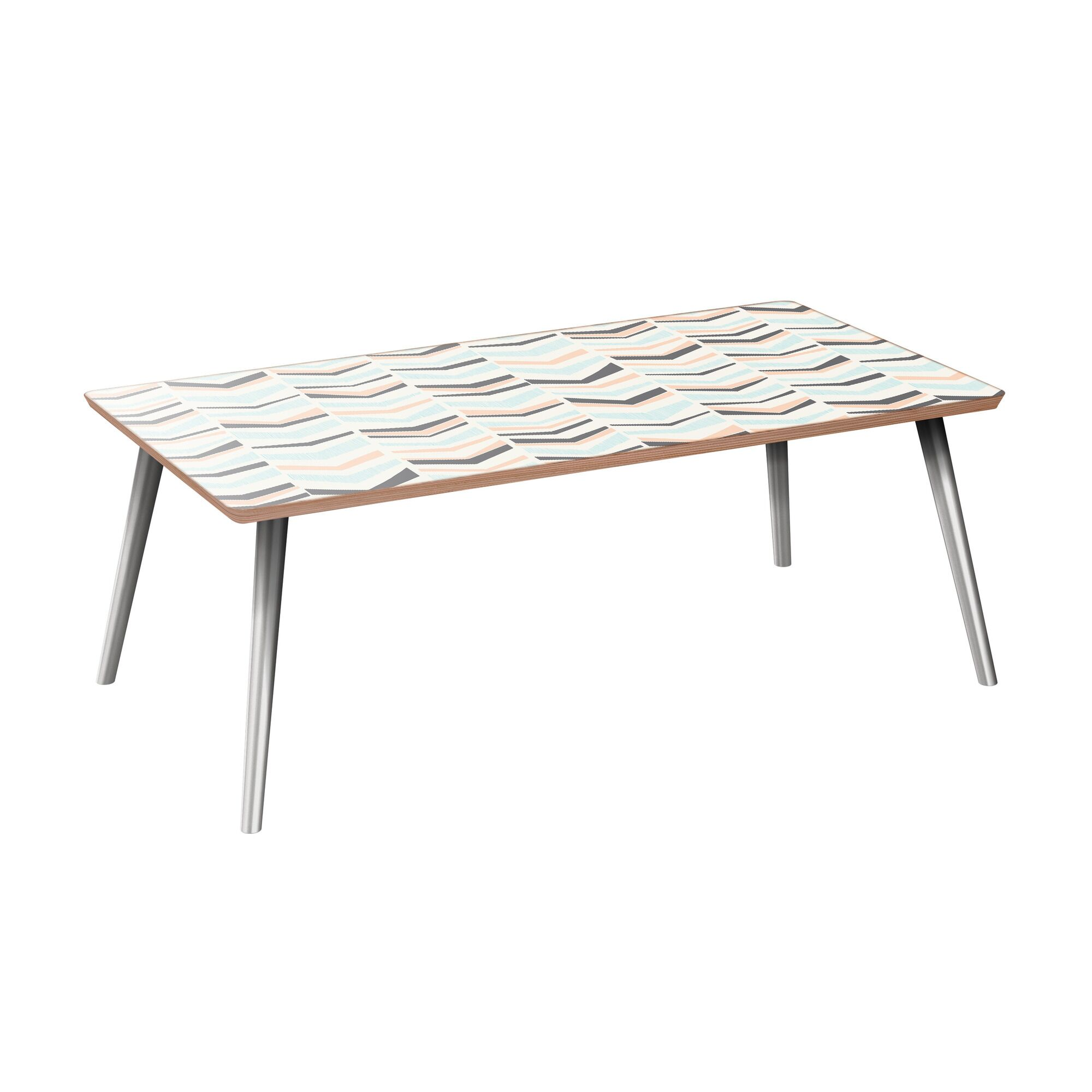Schmit Coffee Table Table Base Color: Chrome, Table Top Color: Walnut