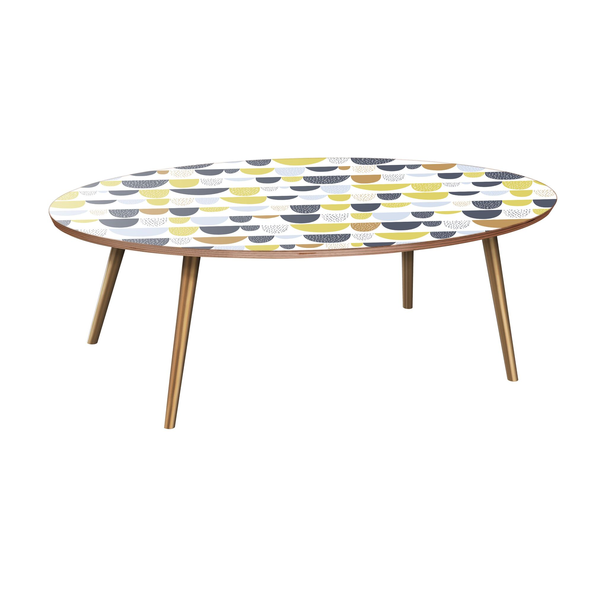Jaliyiah Coffee Table Table Base Color: Brass, Table Top Color: Walnut