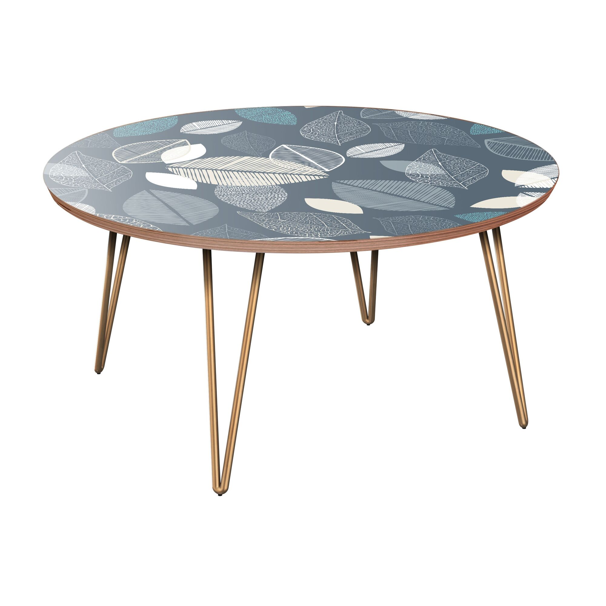 Joshuah Coffee Table Table Base Color: Brass, Table Top Boarder Color: Walnut, Table Top Color: Blue