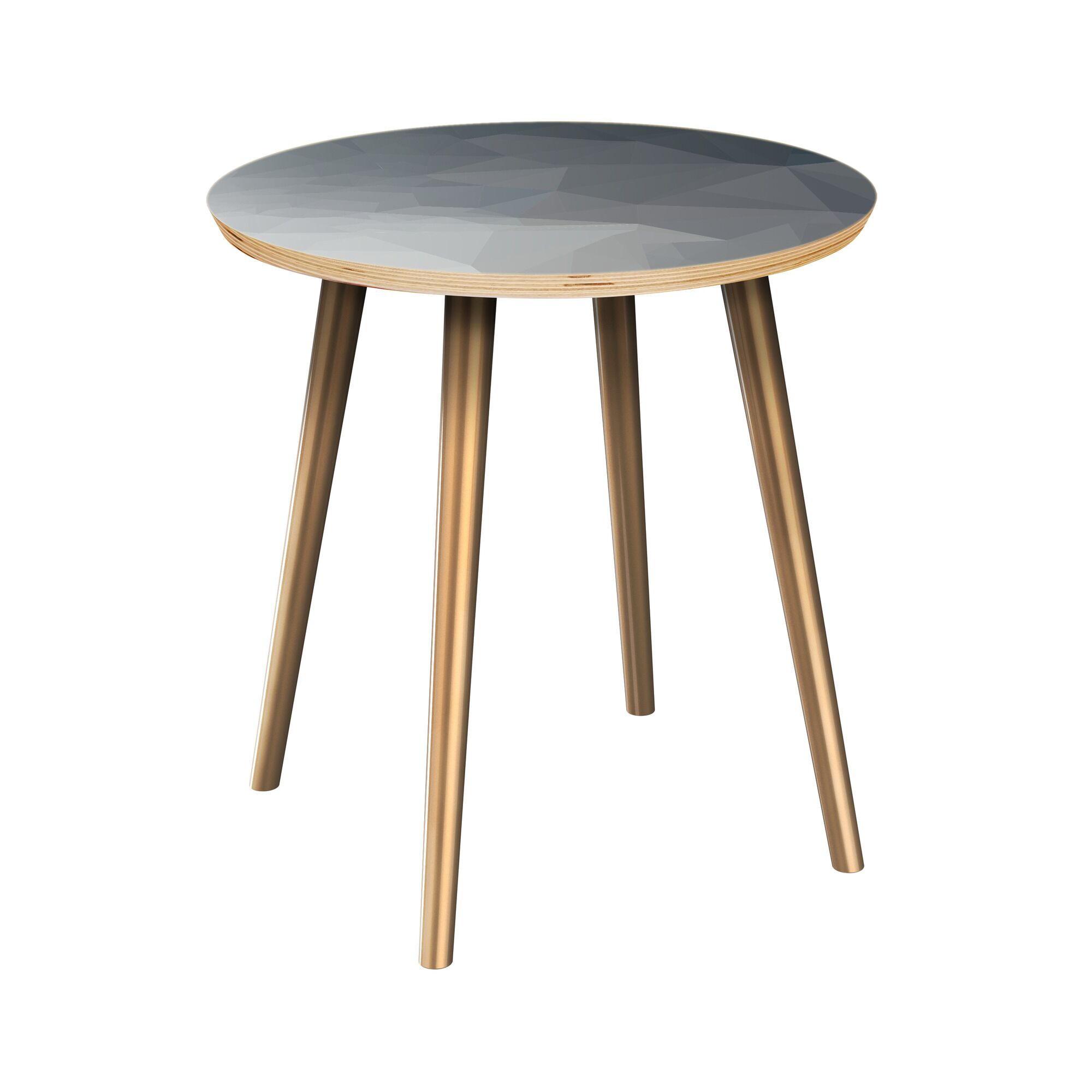Rawley End Table Table Top Boarder Color: Natural, Table Base Color: Brass, Table Top Color: Blue