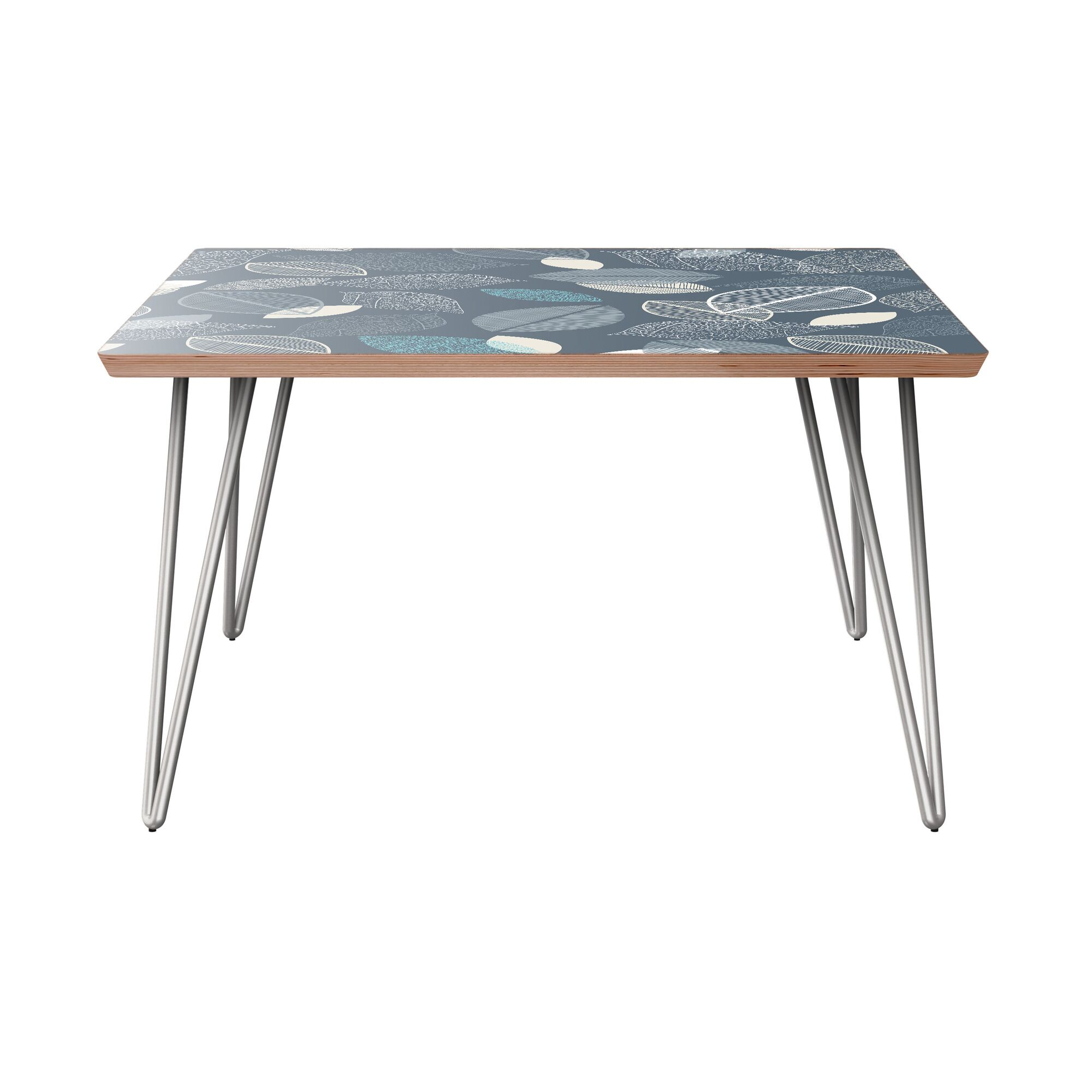 La Mesa Coffee Table Table Base Color: Chrome, Table Top Boarder Color: Walnut, Table Top Color: Green/Brown